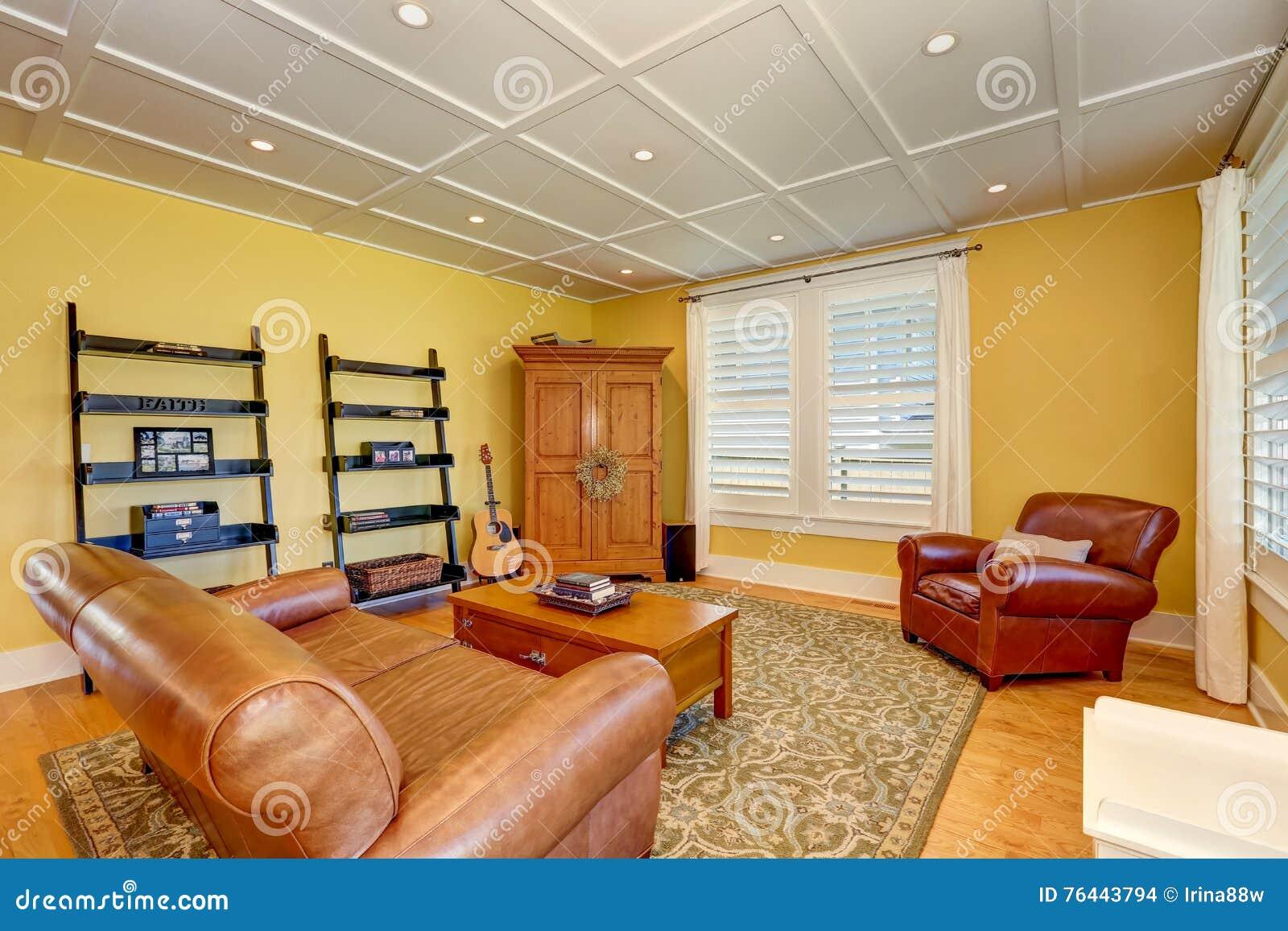 Salon Américain Confortable Avec Les Murs Jaunes En Pastel ...