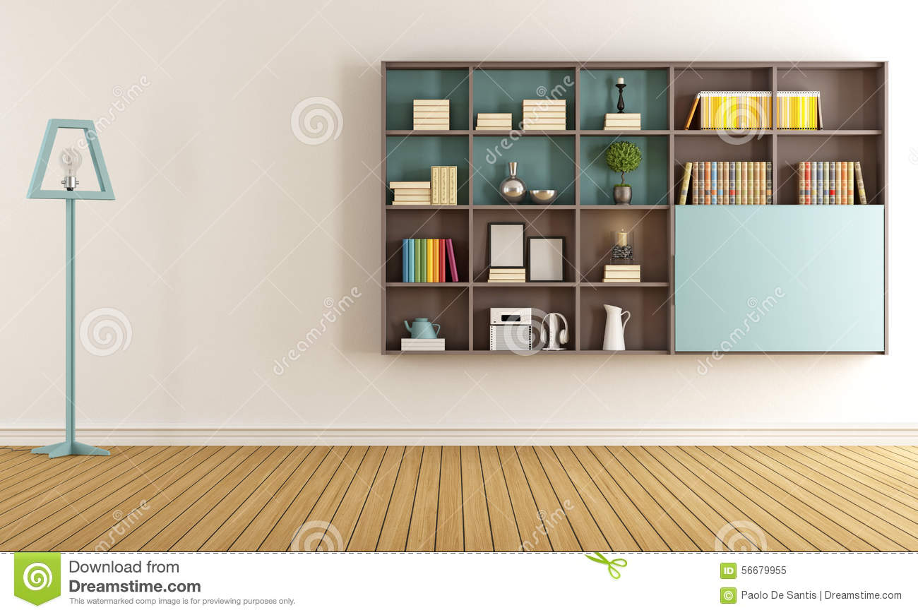 salon avec la biblioth que moderne illustration stock image 56679955. Black Bedroom Furniture Sets. Home Design Ideas