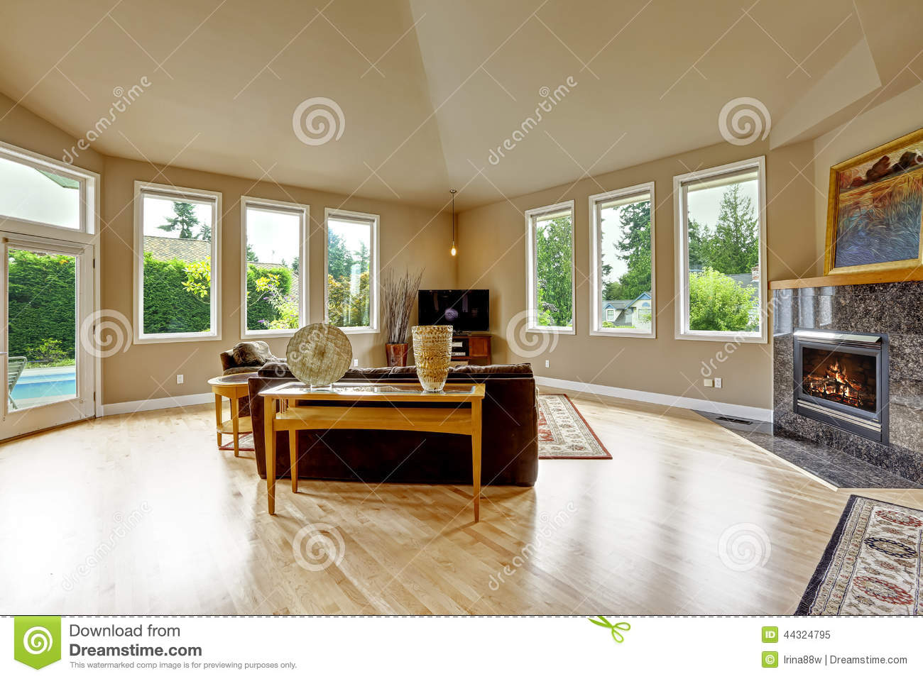 Cool Beau Salon Brun Et Beige Avec Le Plafond Vot Photo Stock Image With Salon Brun Et Beige