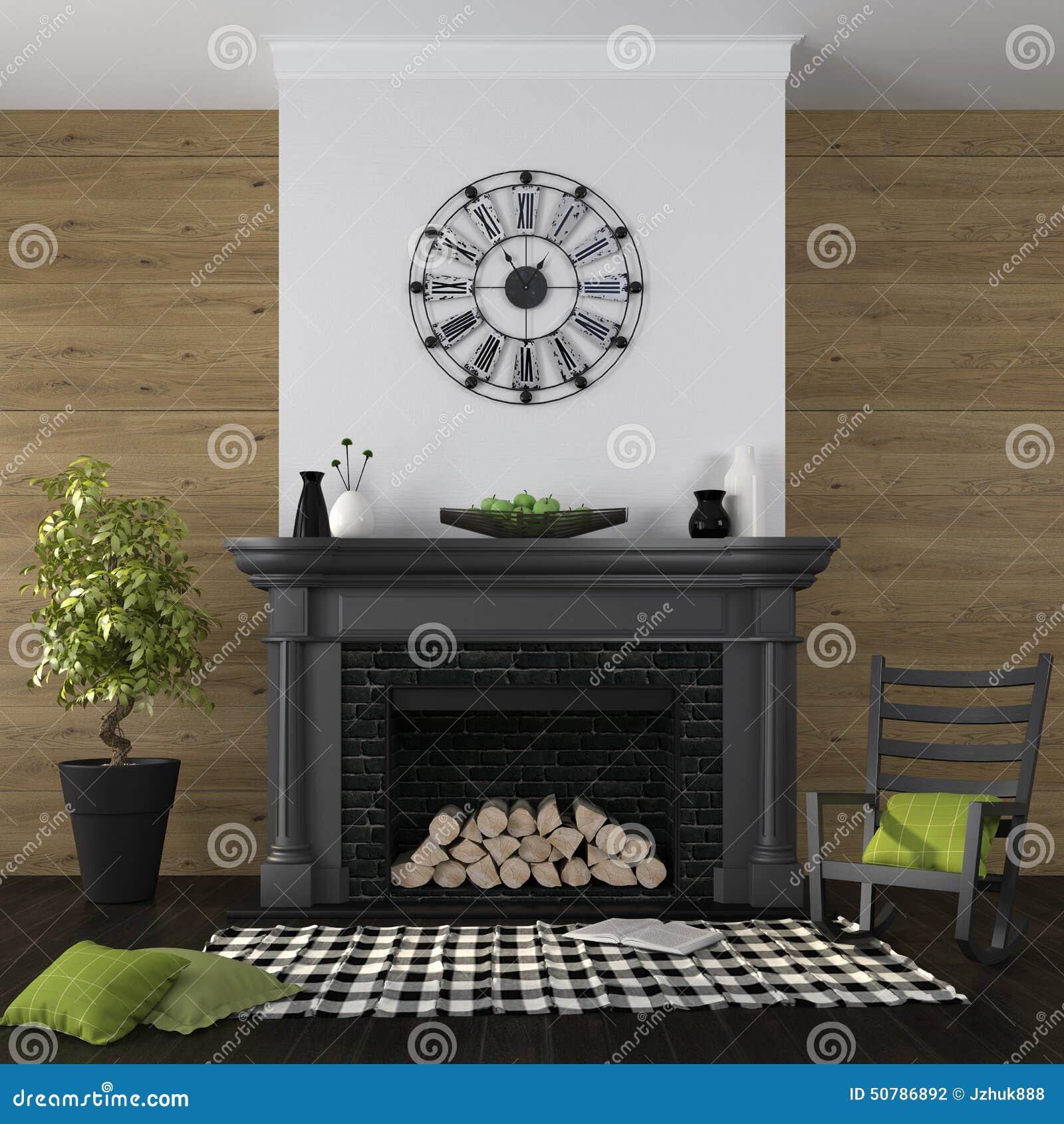 Salon avec la cheminée et le décor vert noir photo stock   image ...