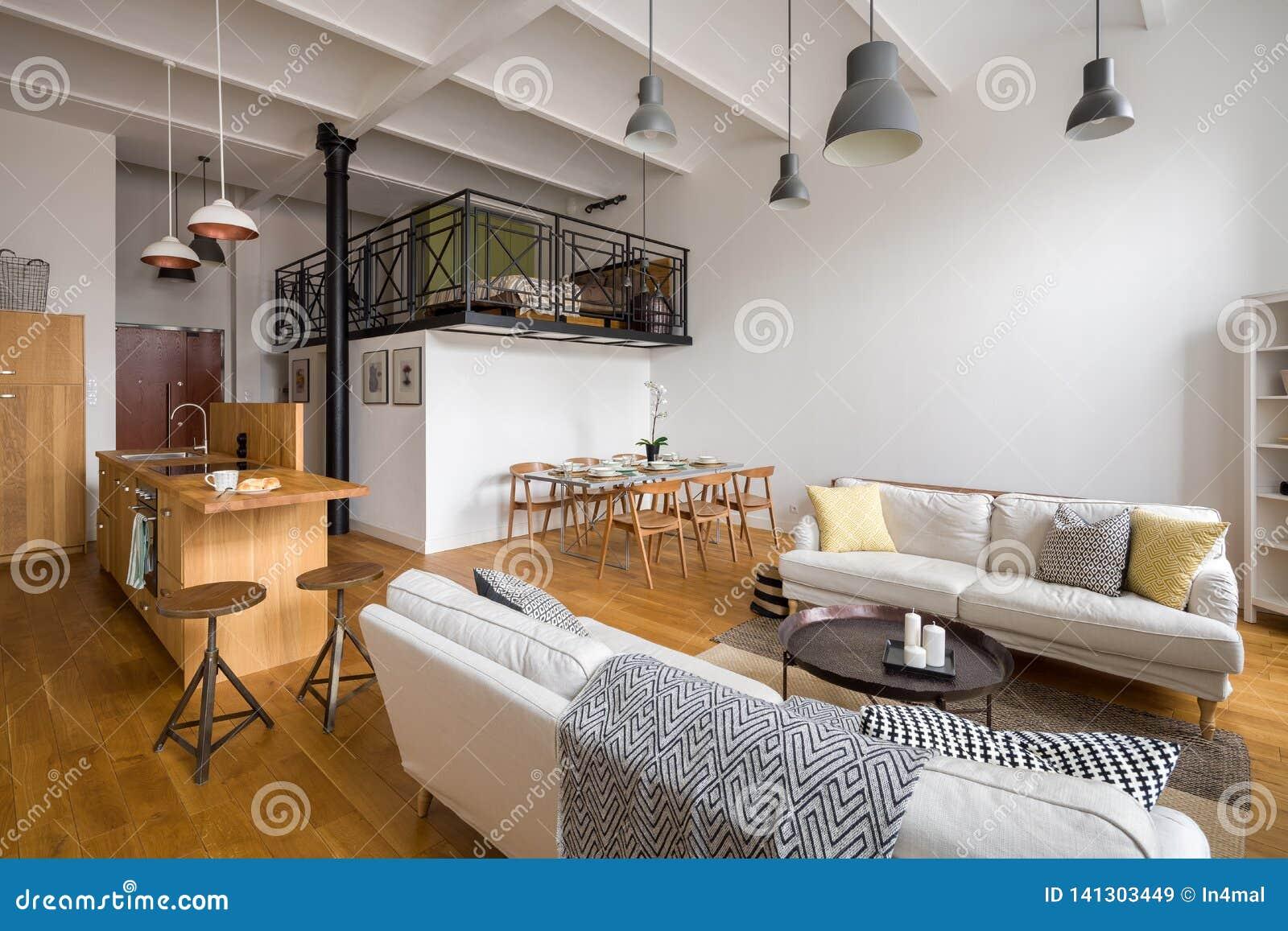 Salon Avec La Cuisine Ouverte Image stock - Image du divan ...