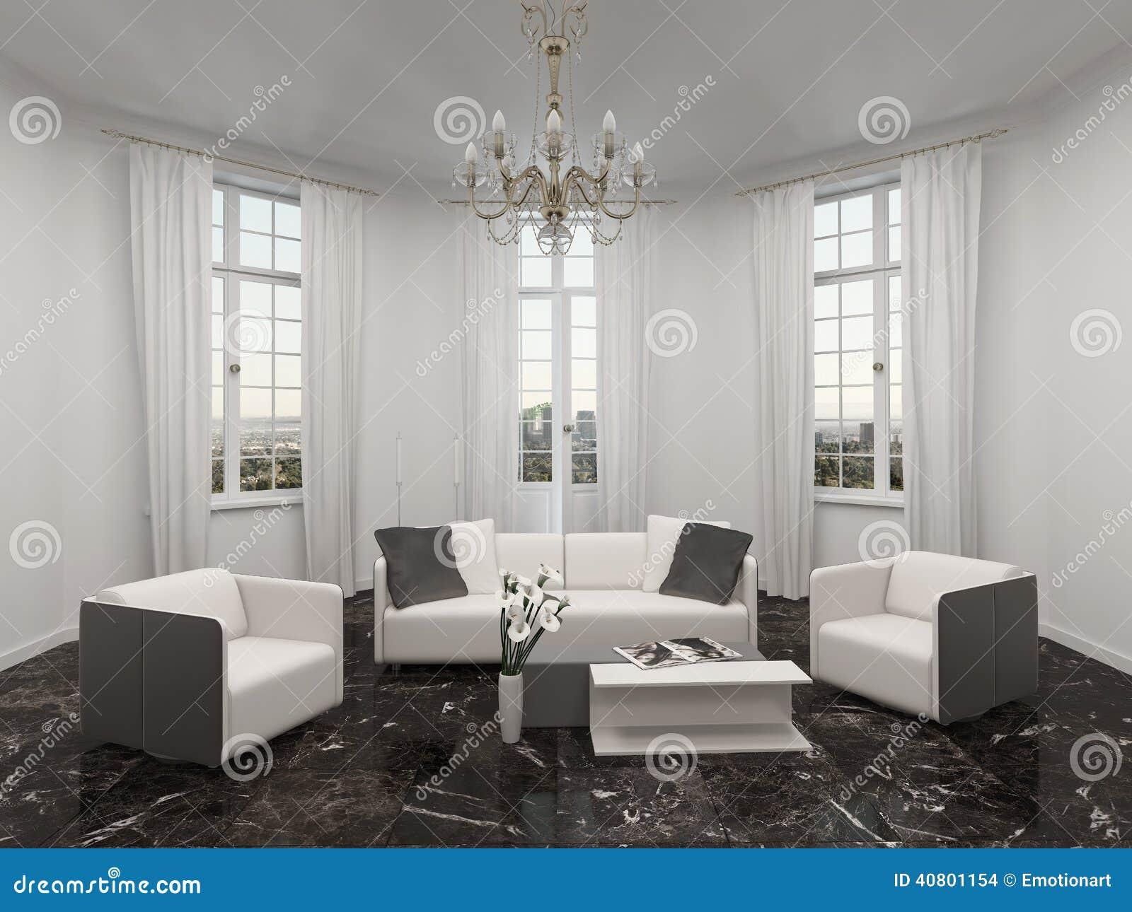 Salon avec la fen tre en saillie le lustre et le divan for Fenetre en saillie