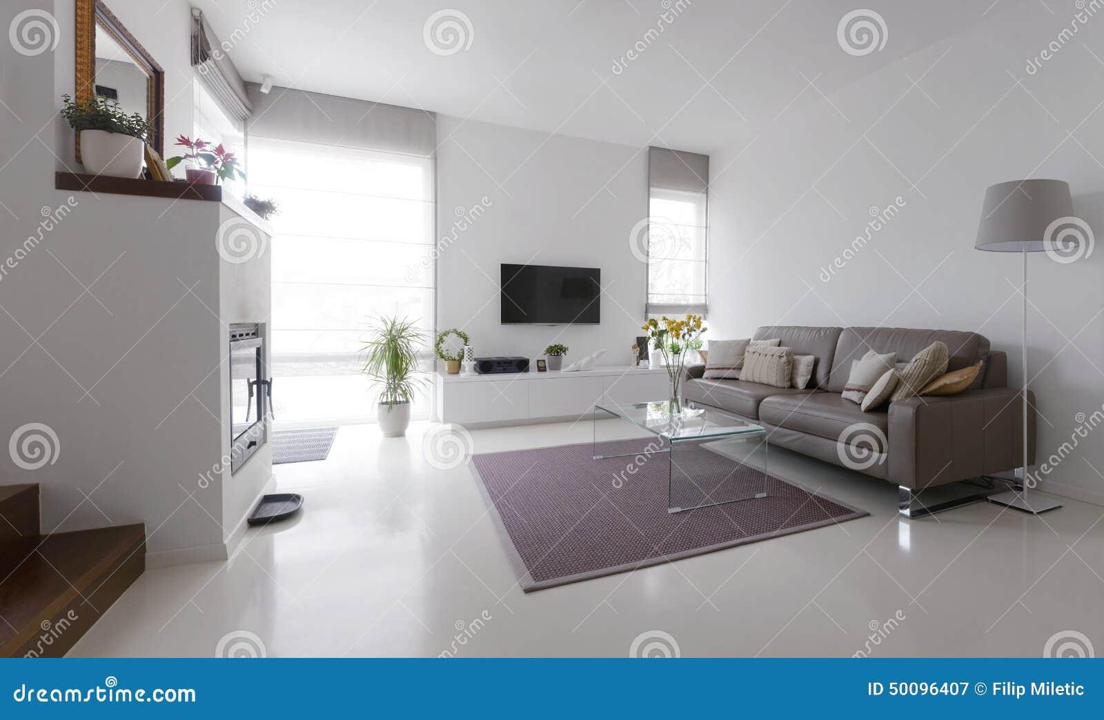 Salon avec la table en cuir de sofa et en verre