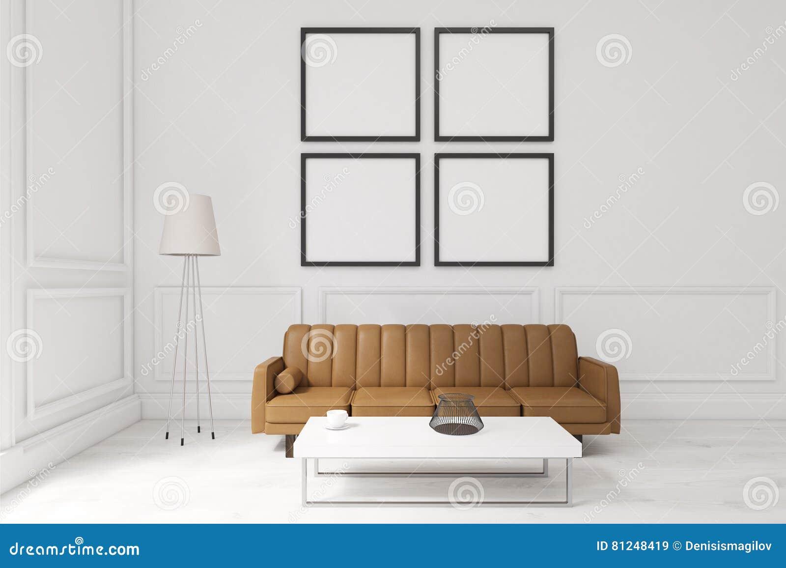 Table Basse Grand Salon salon avec quatre affiches, sofa brun et une table basse