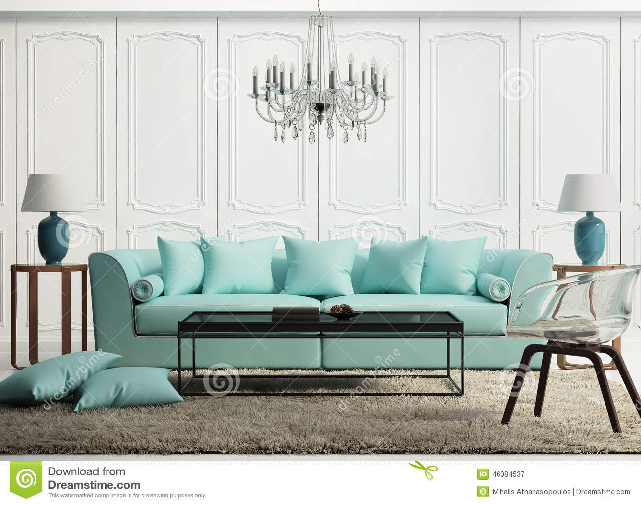 salon baroque l gant vert clair photo stock image 46084537. Black Bedroom Furniture Sets. Home Design Ideas