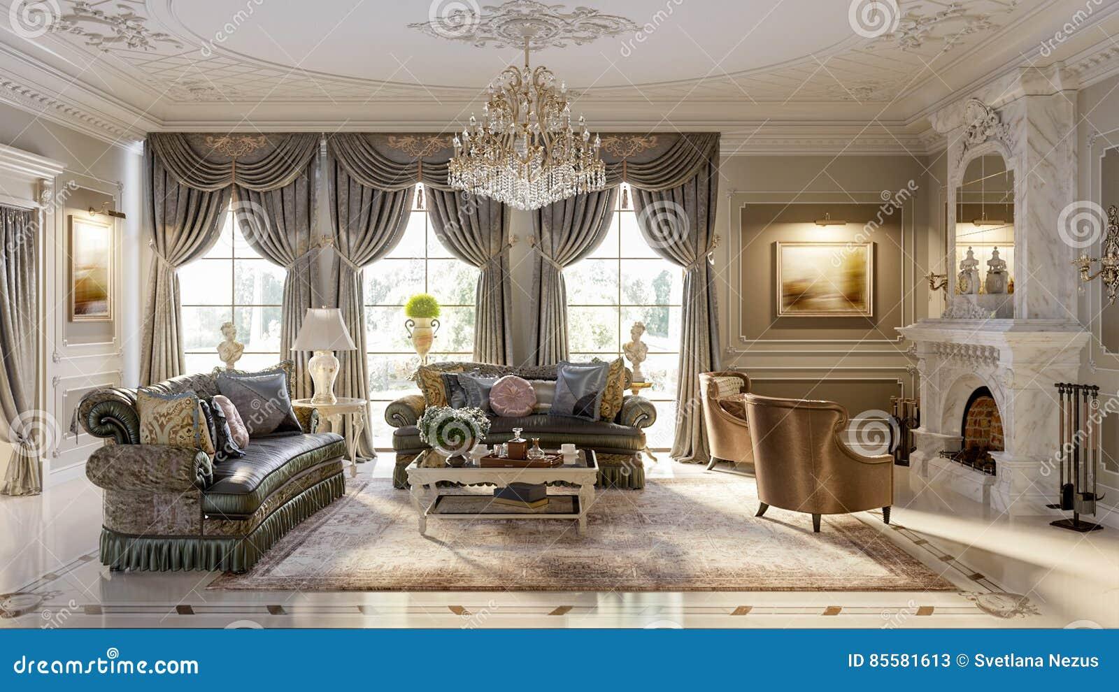 salon baroque luxueux illustration stock illustration du propre 85581613. Black Bedroom Furniture Sets. Home Design Ideas