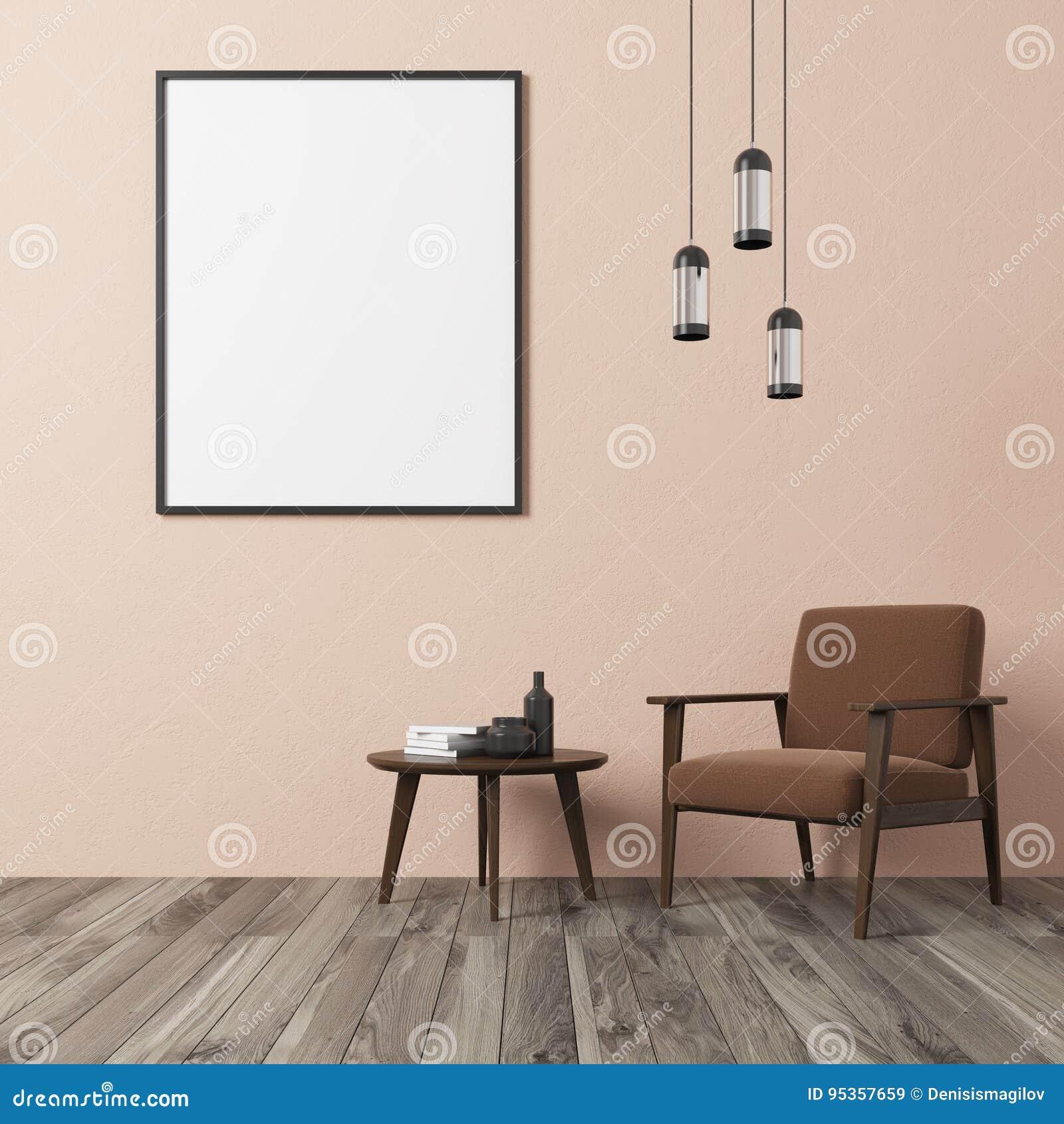 Salon Beige De Mur, Fauteuil Brun Illustration Stock - Illustration ...