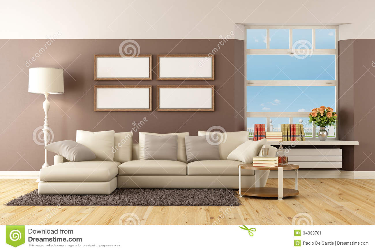 salon beige et brun image stock image 34339701. Black Bedroom Furniture Sets. Home Design Ideas