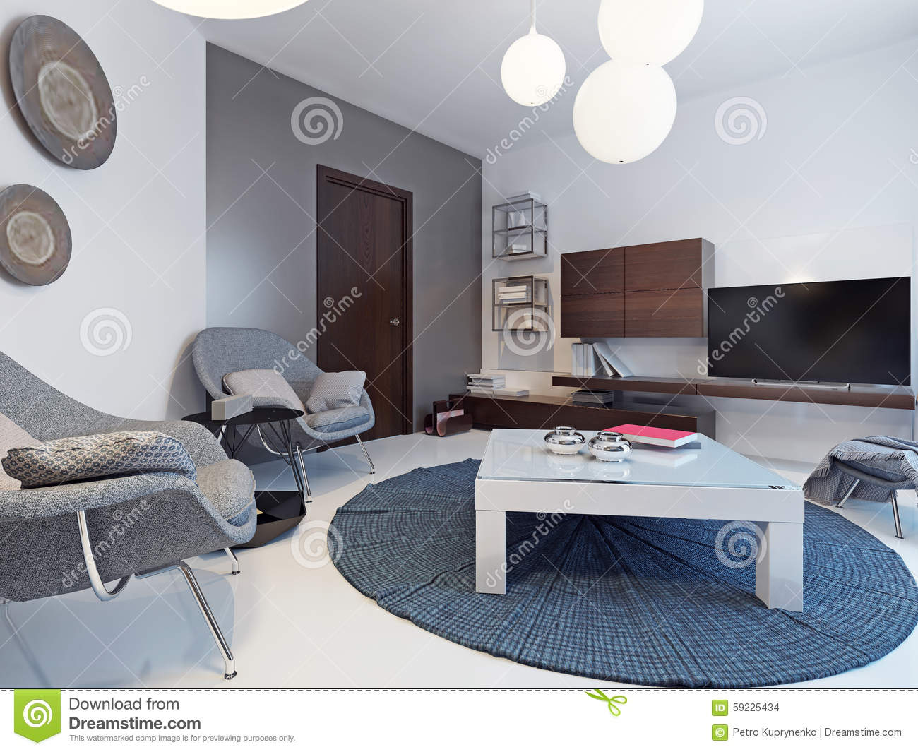Salon gris, bleu et blanc contemporain illustration stock   image ...