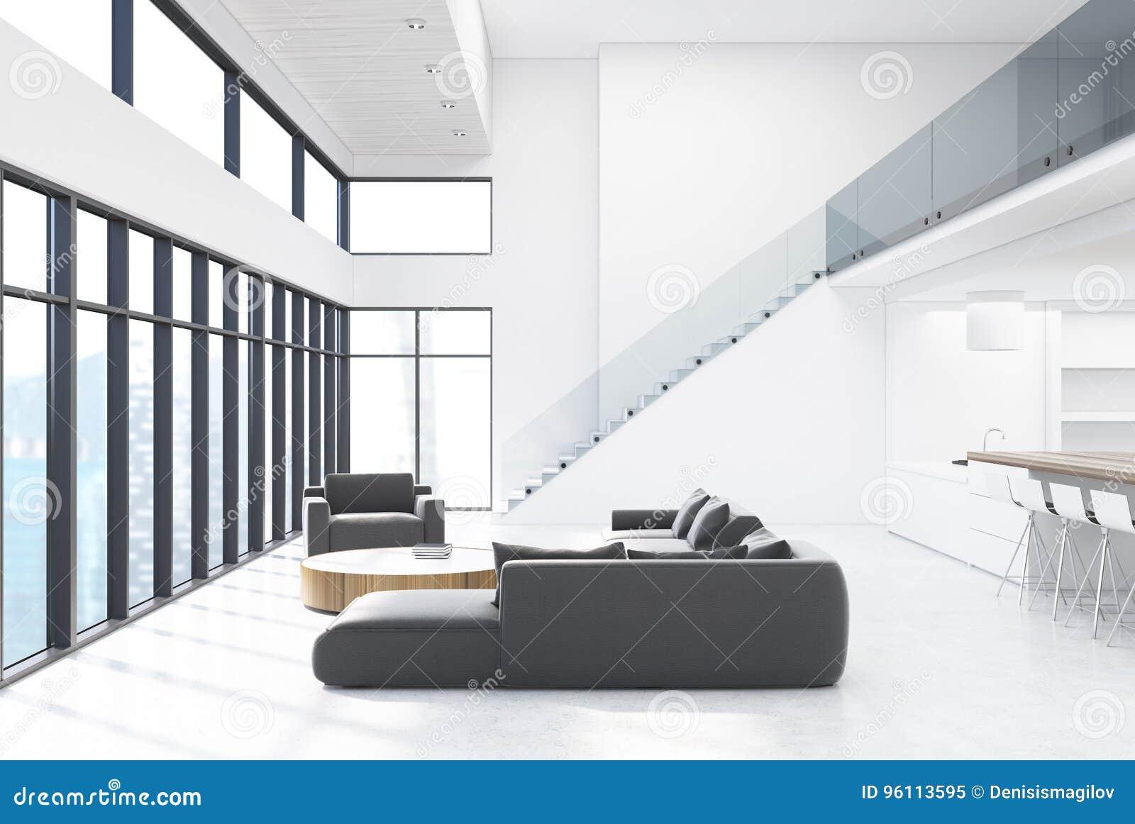 Salon Blanc Avec Les Meubles Et Les Escaliers Gris ...