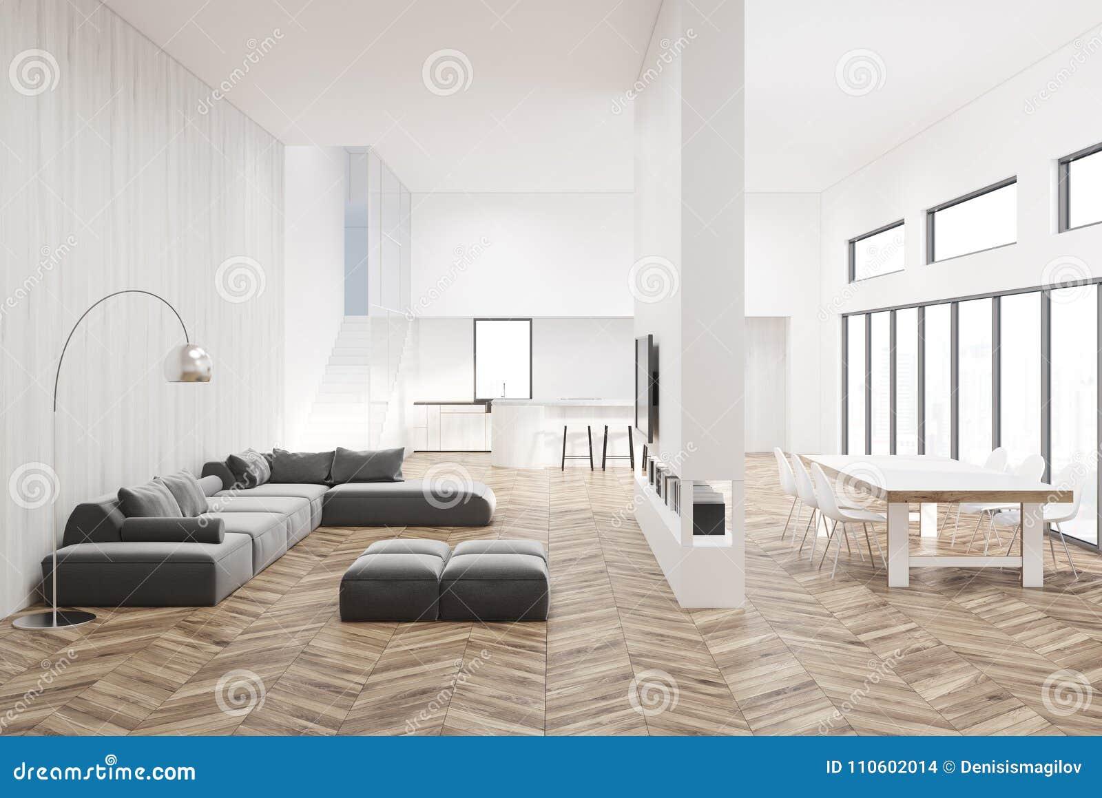 Salon Blanc Avec Un Plancher En Bois Illustration Stock ...
