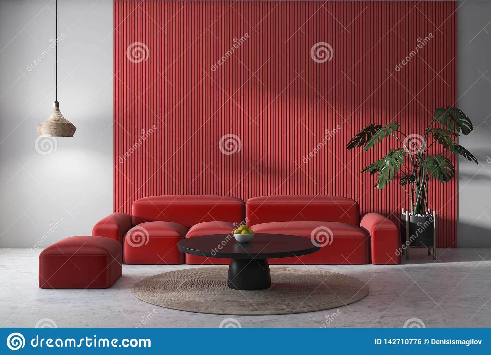 Salon Blanc Et Gris Avec Le Sofa Rouge Illustration Stock ...