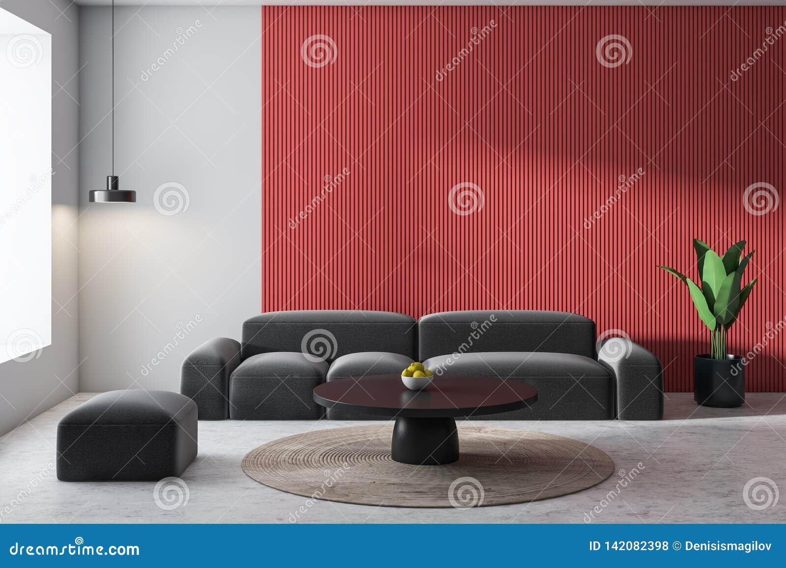Salon Blanc Et Rouge, Sofa Gris Illustration Stock ...