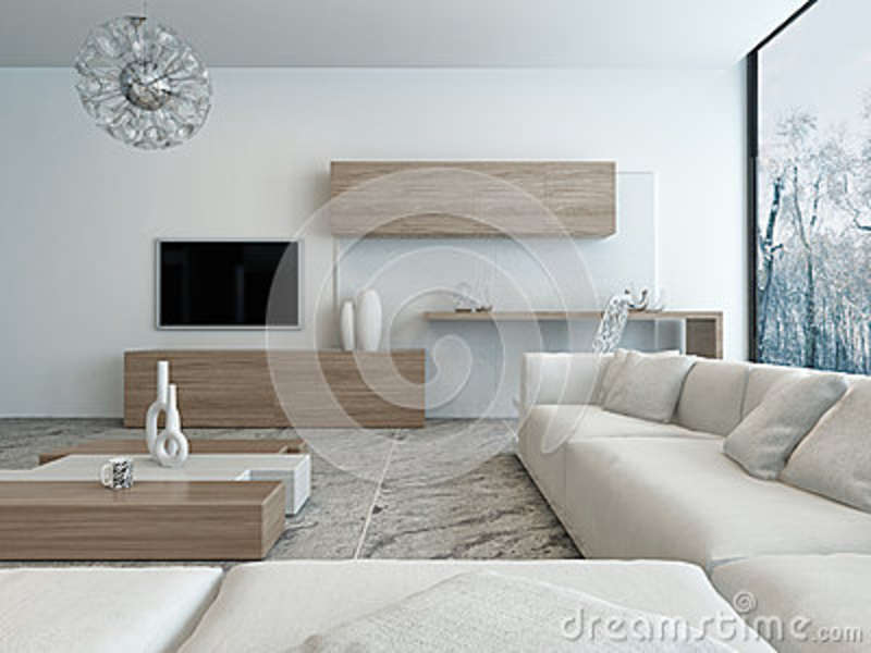 salon blanc moderne avec les meubles en bois illustration. Black Bedroom Furniture Sets. Home Design Ideas