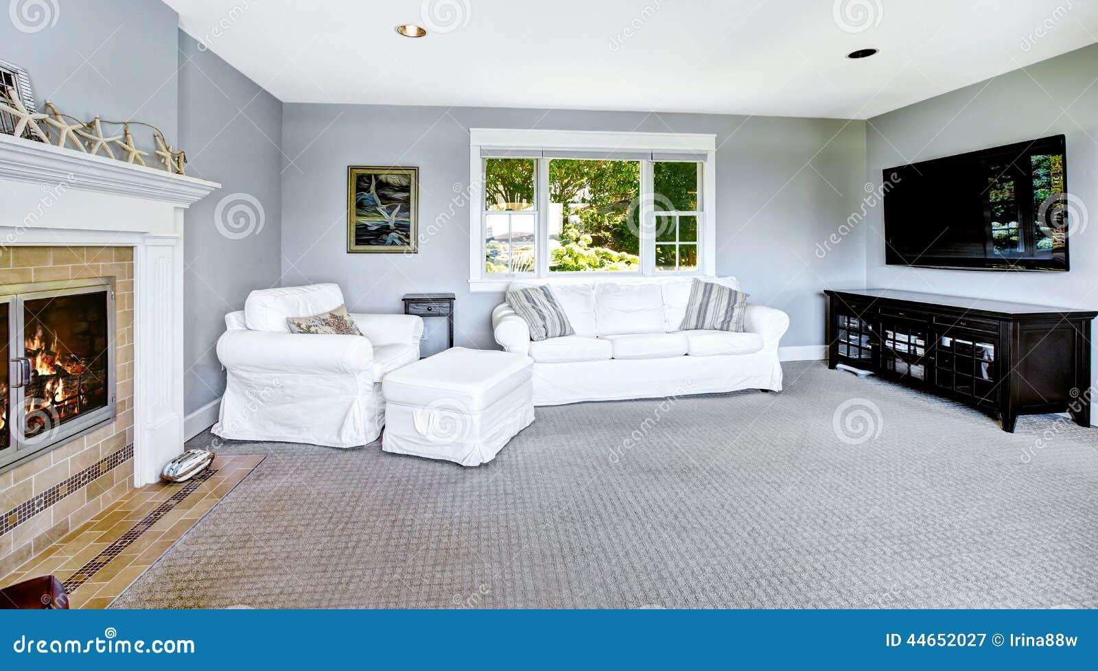 salon bleu clair avec le sofa et la chemin e blancs photo stock image 44652027. Black Bedroom Furniture Sets. Home Design Ideas