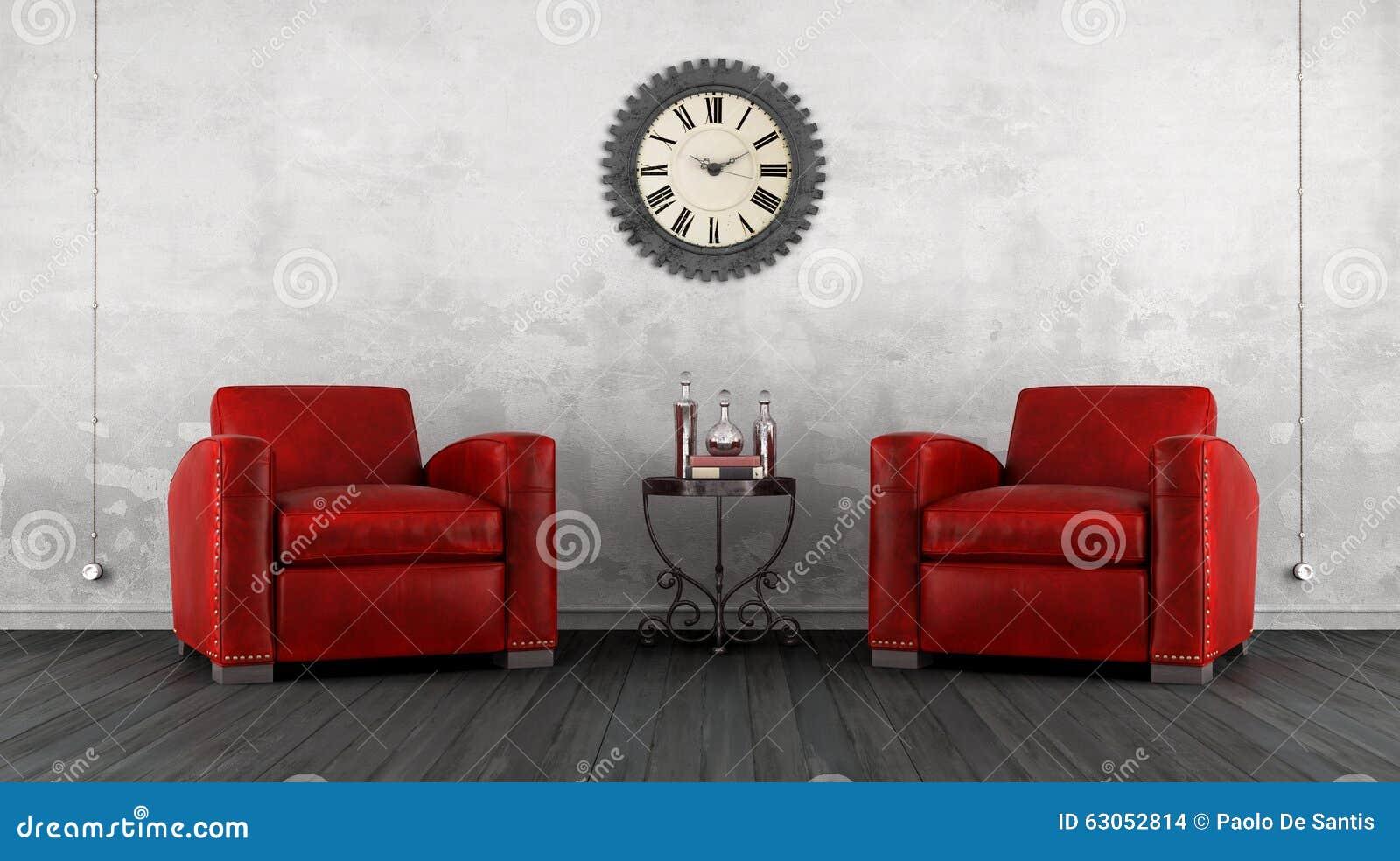 Salon classique avec le fauteuil deux illustration stock for Salon avec fauteuil