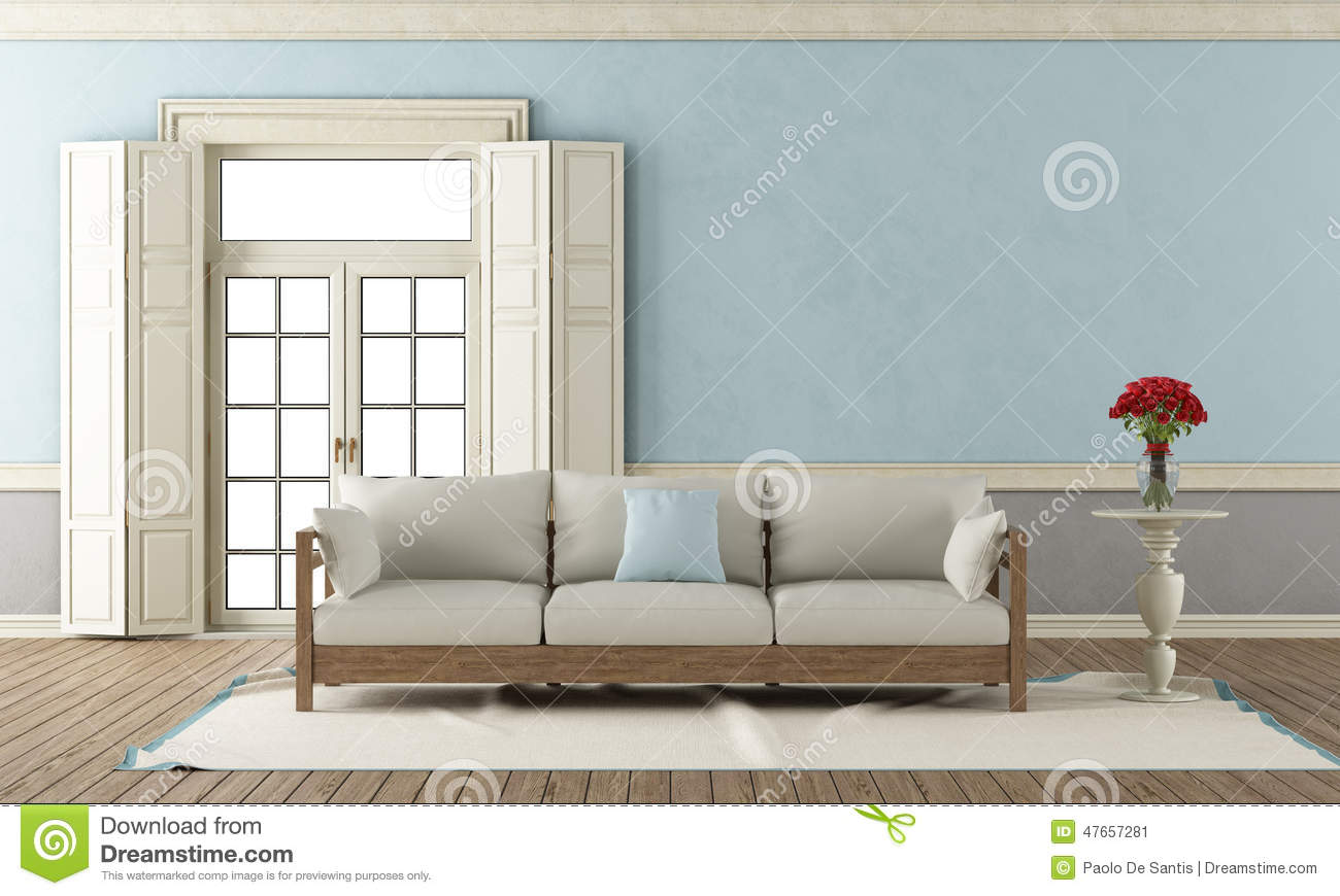salon classique bleu et gris illustration stock. Black Bedroom Furniture Sets. Home Design Ideas