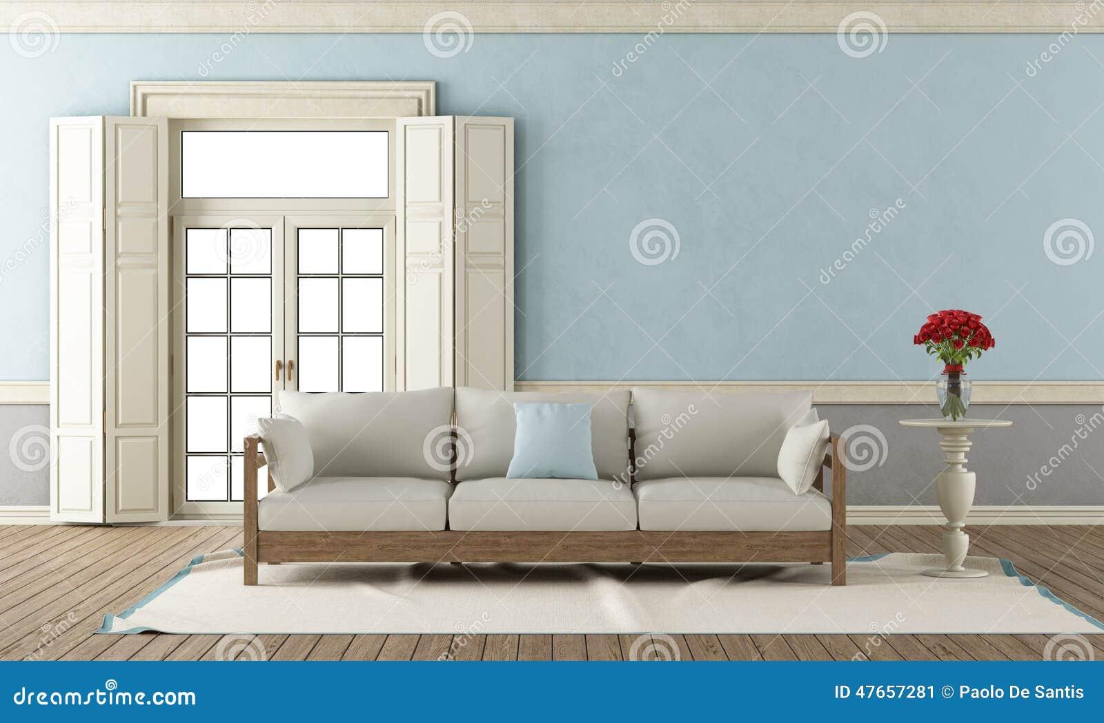 Salon classique bleu et gris illustration stock - Salon bleu et gris ...
