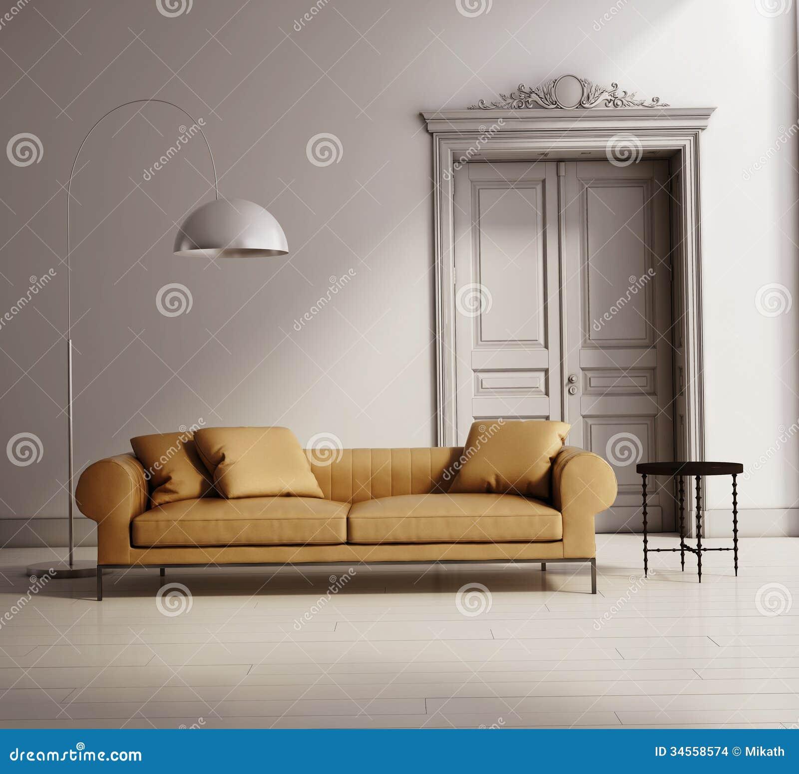 salon classique contemporain sofa en cuir beige illustration stock illustration du. Black Bedroom Furniture Sets. Home Design Ideas