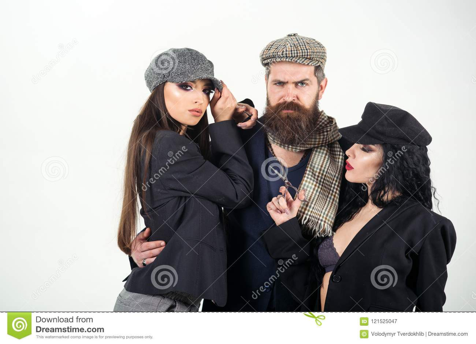 Salon concept. Bearded man hug women with barber tools, salon. Shaving or barber salon. Salon for real men. Create your