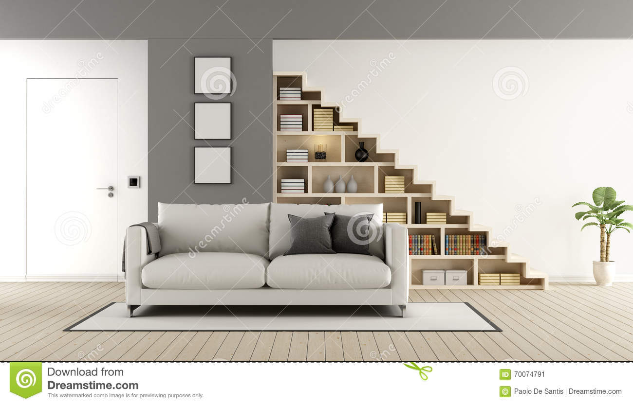 Salon contemporain avec l 39 escalier illustration stock image 70074791 - Image salon contemporain ...
