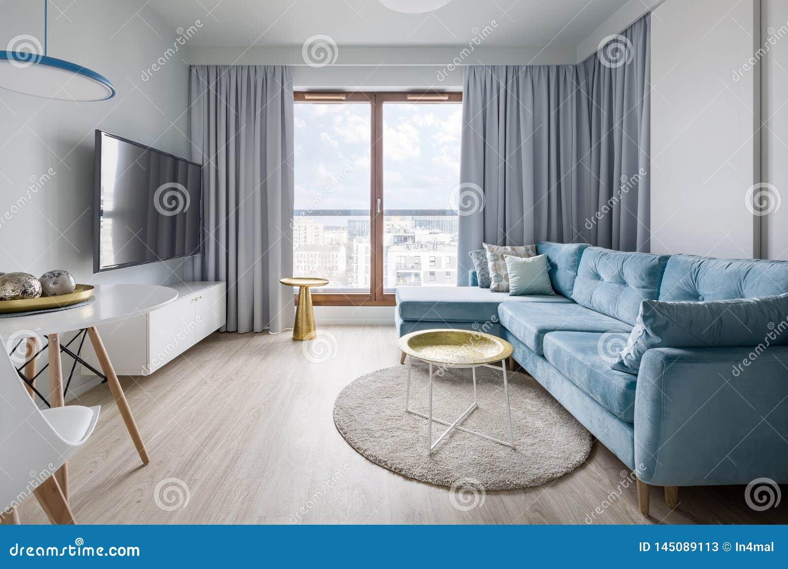 Salon Contemporain Dans Bleu, Gris Et Blanc Image stock ...
