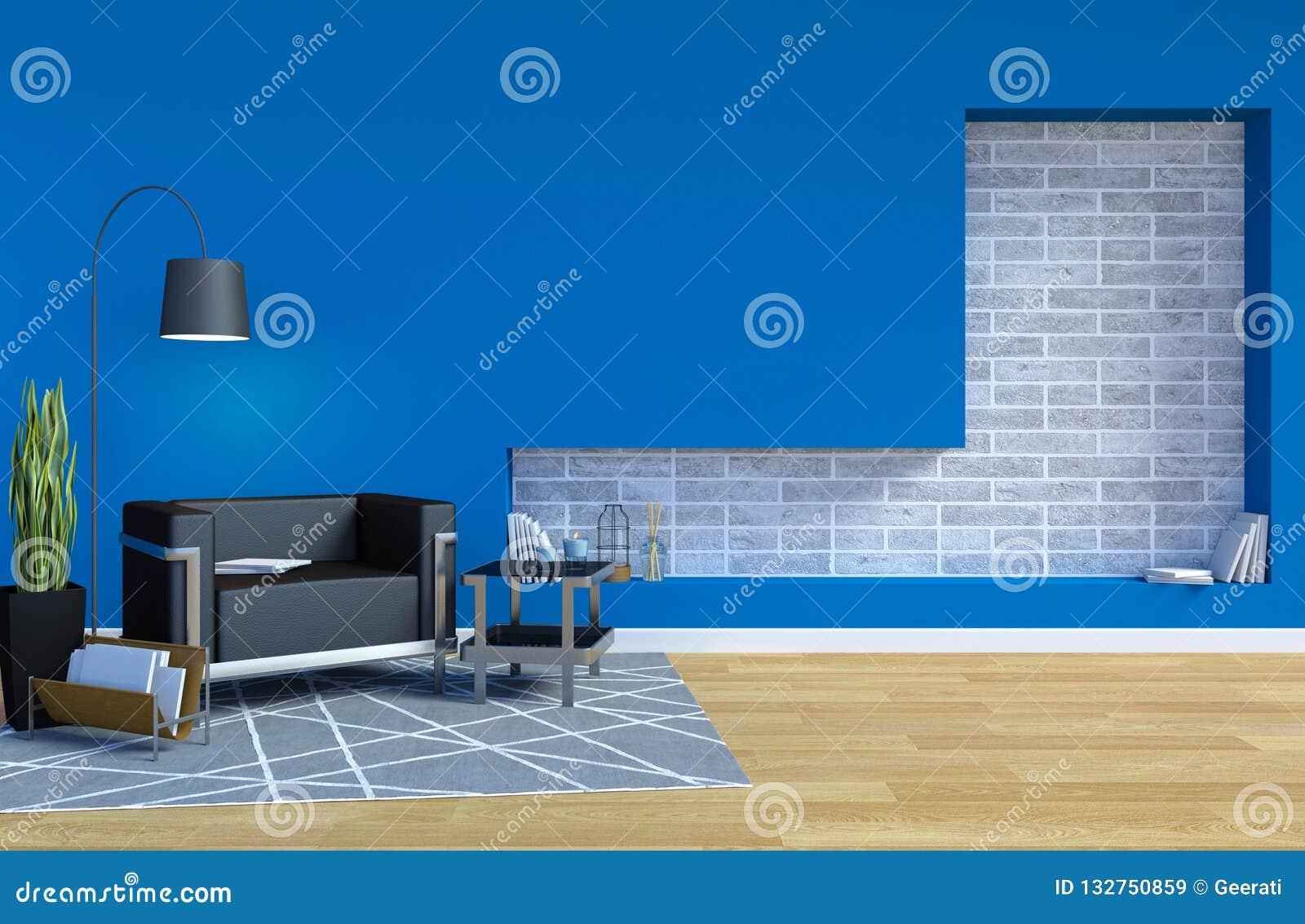 Salon Contemporain Moderne Intérieur Avec L\'espace Bleu De ...