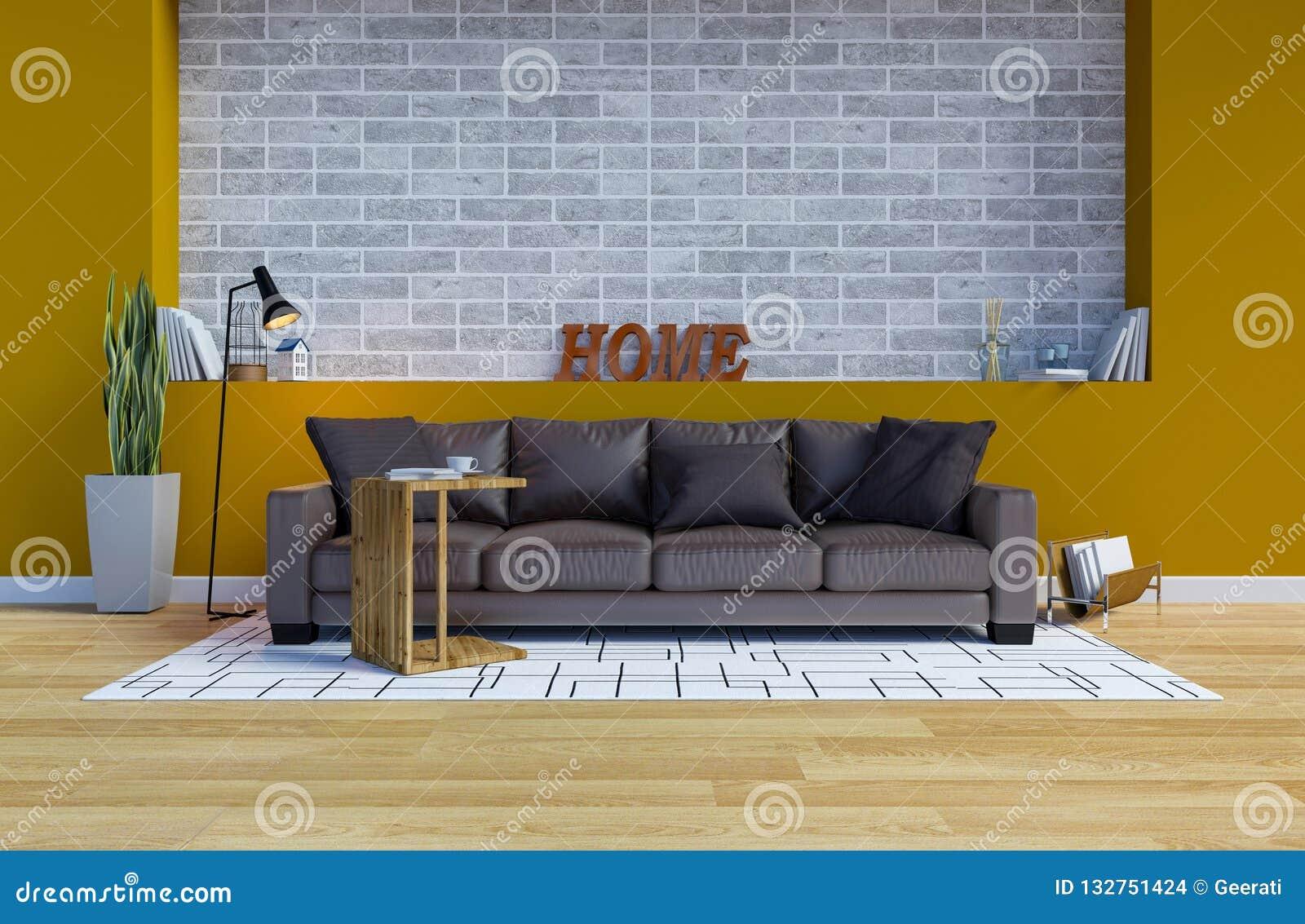 Salon Contemporain Moderne Intérieur Avec L\'espace Jaune De ...