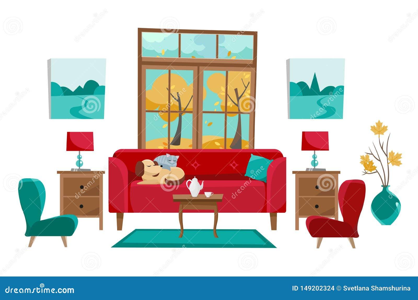 Salon dans des couleurs rouges jaunes de turquoise Sofa rouge avec la table, nightstand, peintures, lampes, vase, tapis, ensemble