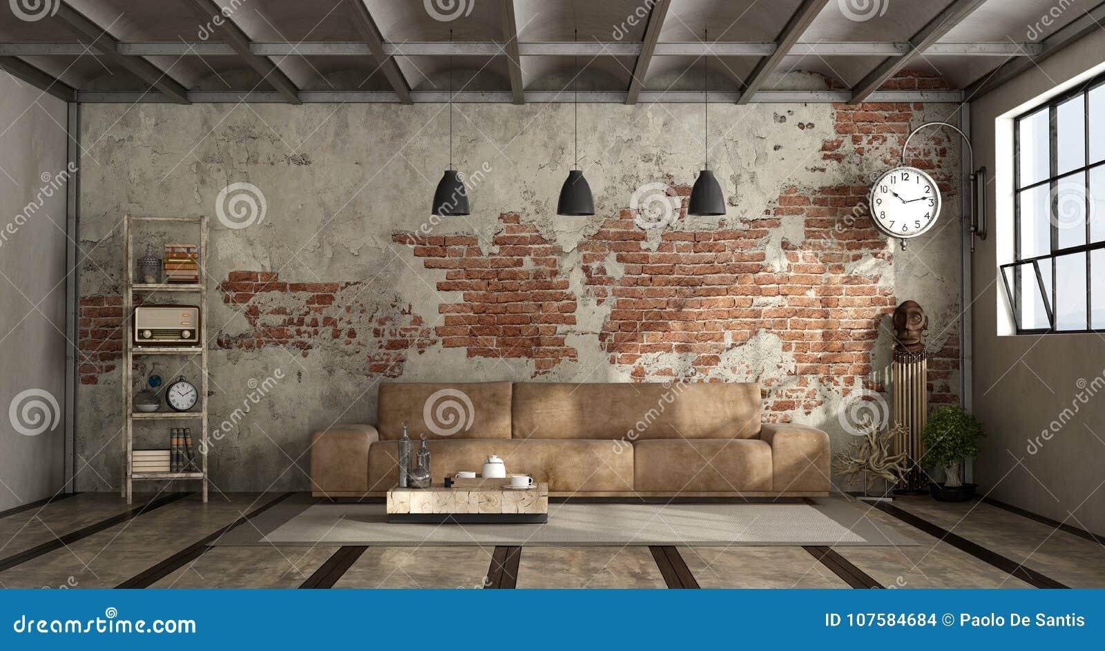 Salon Cuisine Style Industriel salon dans le style industriel illustration stock