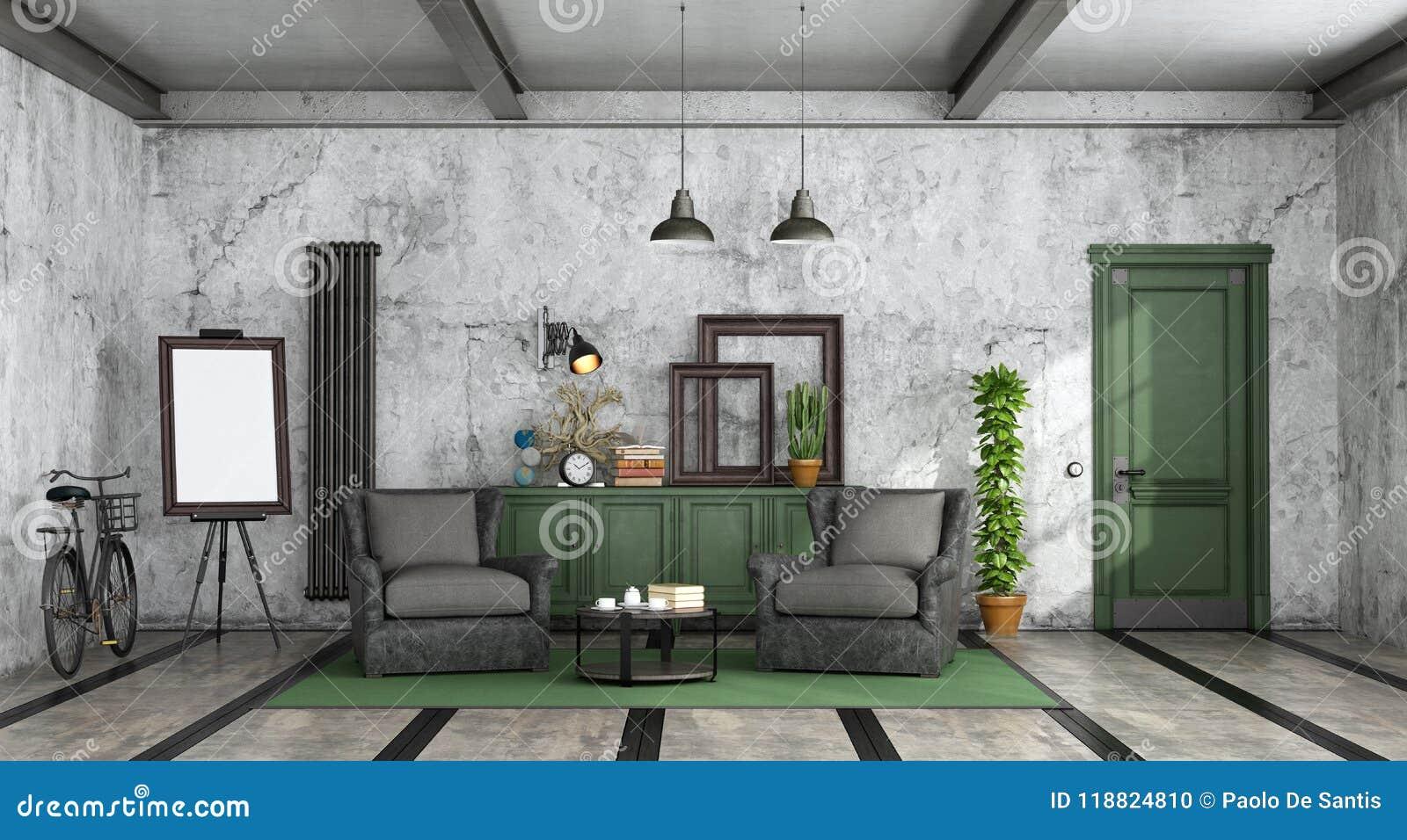 Salon Dans Le Style Industriel Illustration Stock