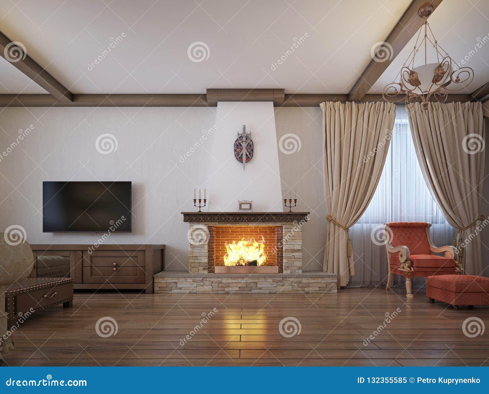 Salon dans un style rustique avec des meubles mous et une grande cheminée avec les éléments classiques