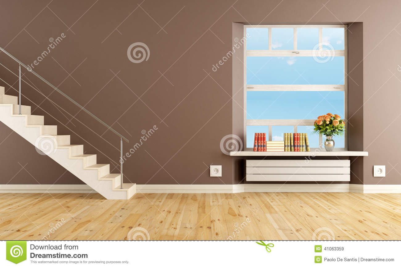 Salon de brown avec l 39 escalier illustration stock image - Amenagement salon avec escalier ...