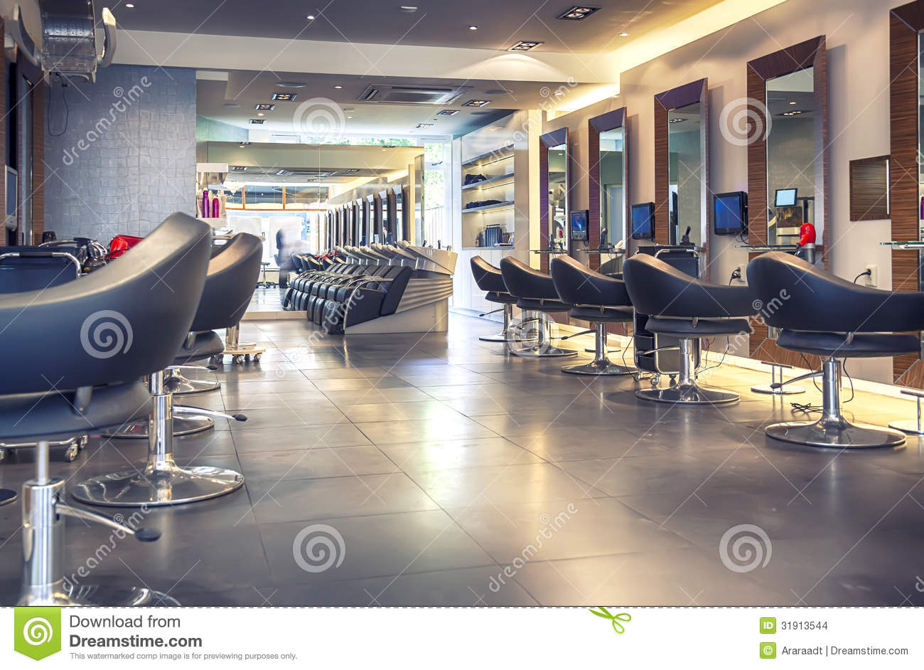 Salon de coiffure moderne photo stock. Image du indoors - 31913544