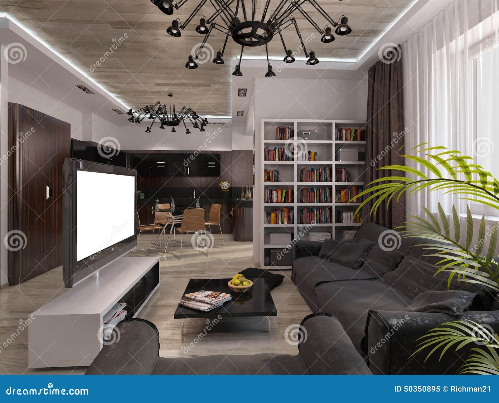 salon de conception avec des couleurs chaudes illustration. Black Bedroom Furniture Sets. Home Design Ideas