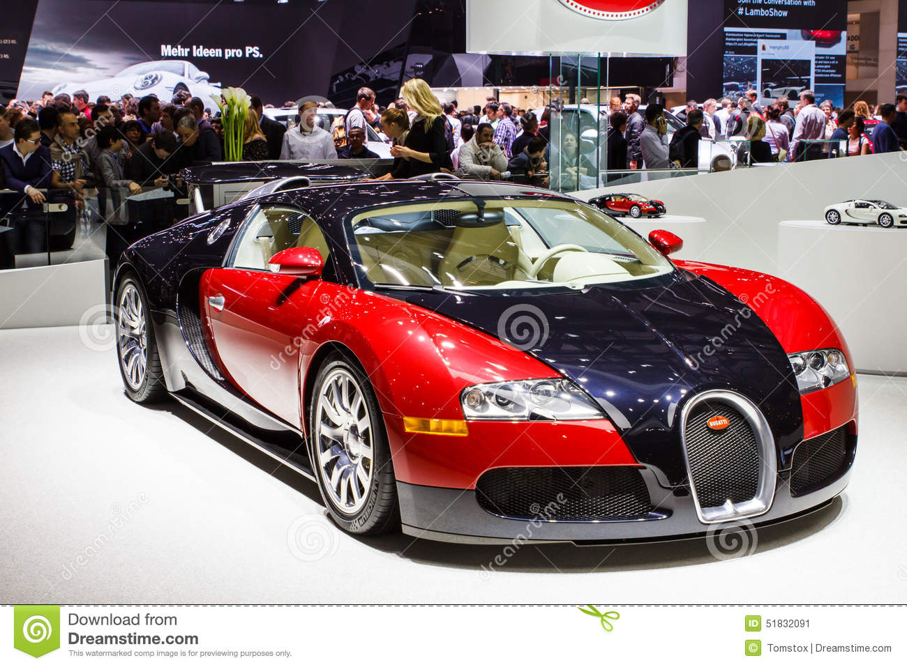 salon de l 39 automobile rouge de bugatti veyron gen ve 2015 photo ditorial image 51832091. Black Bedroom Furniture Sets. Home Design Ideas