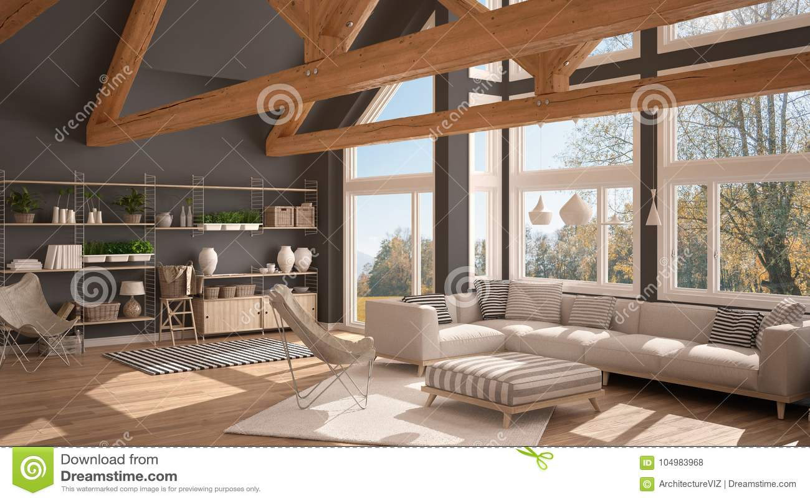 Salon De La Maison De Luxe D Eco Du Plancher De Parquet Et