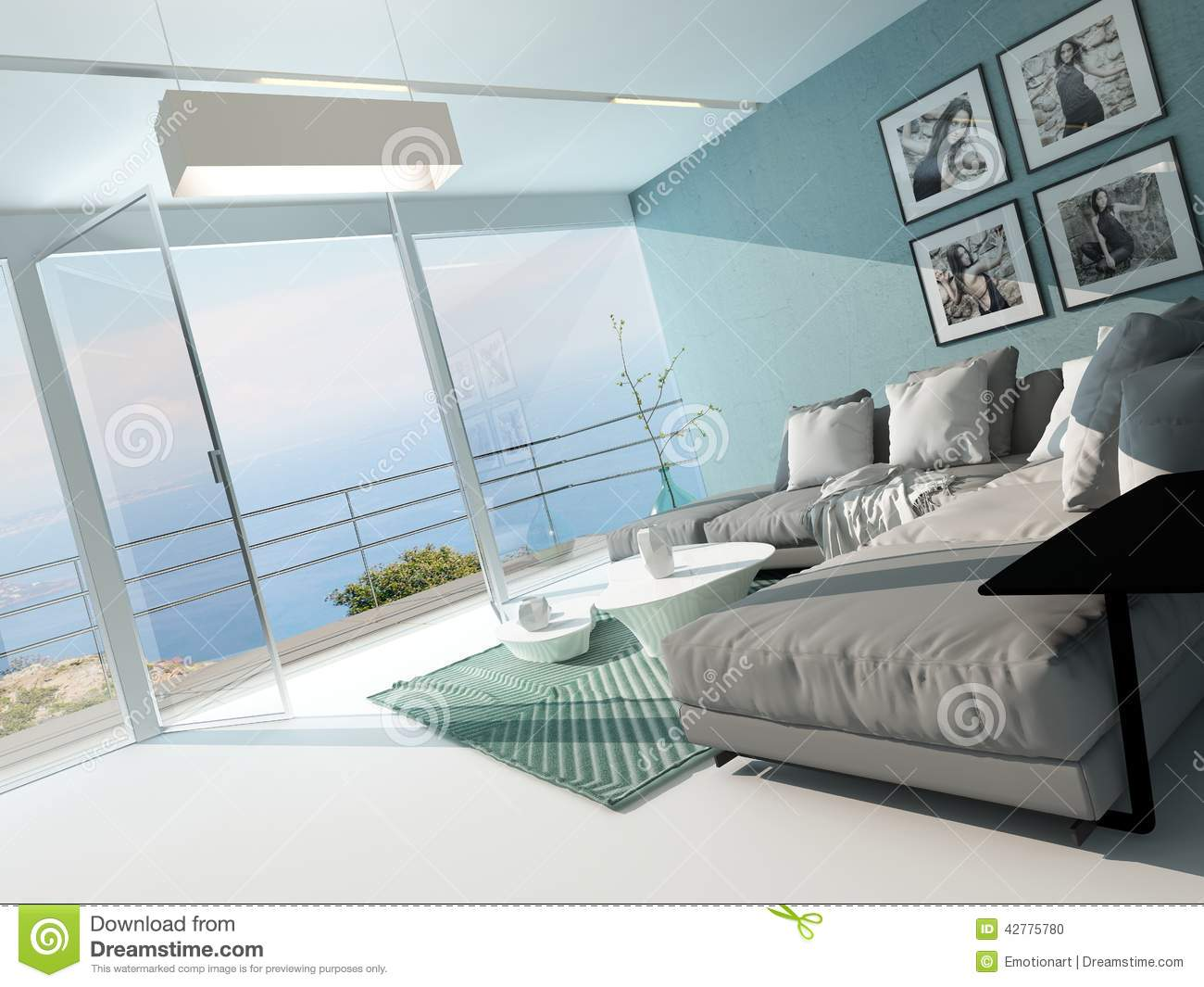 Salon de luxe d 39 appartement de bord de mer illustration - Decoration appartement bord de mer ...