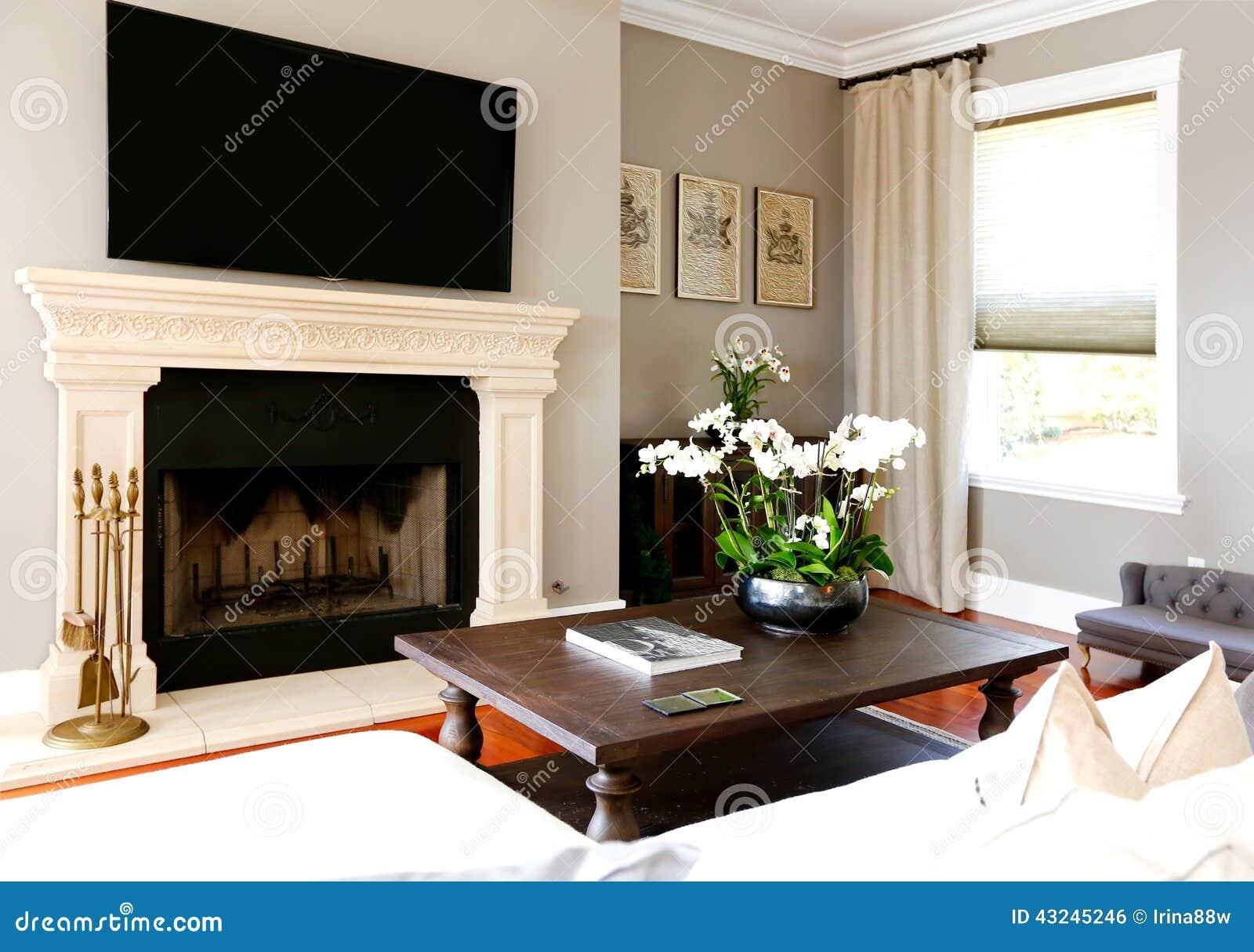Salon de luxe lumineux avec la chemin e et la tv photo for Chemin de table lumineux