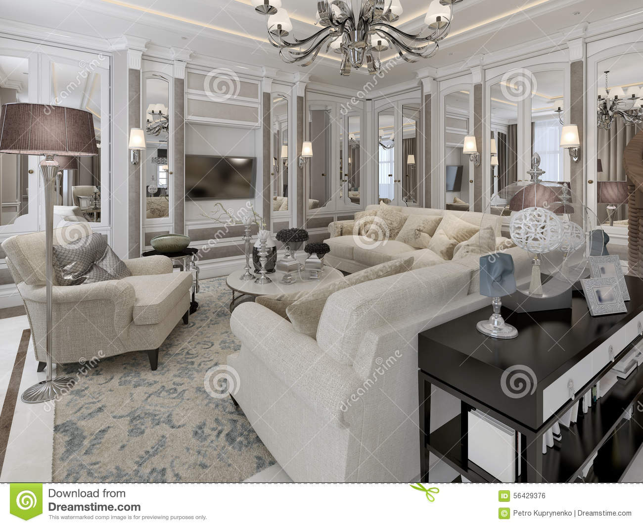 salon de style d 39 art d co illustration stock image 56429376. Black Bedroom Furniture Sets. Home Design Ideas