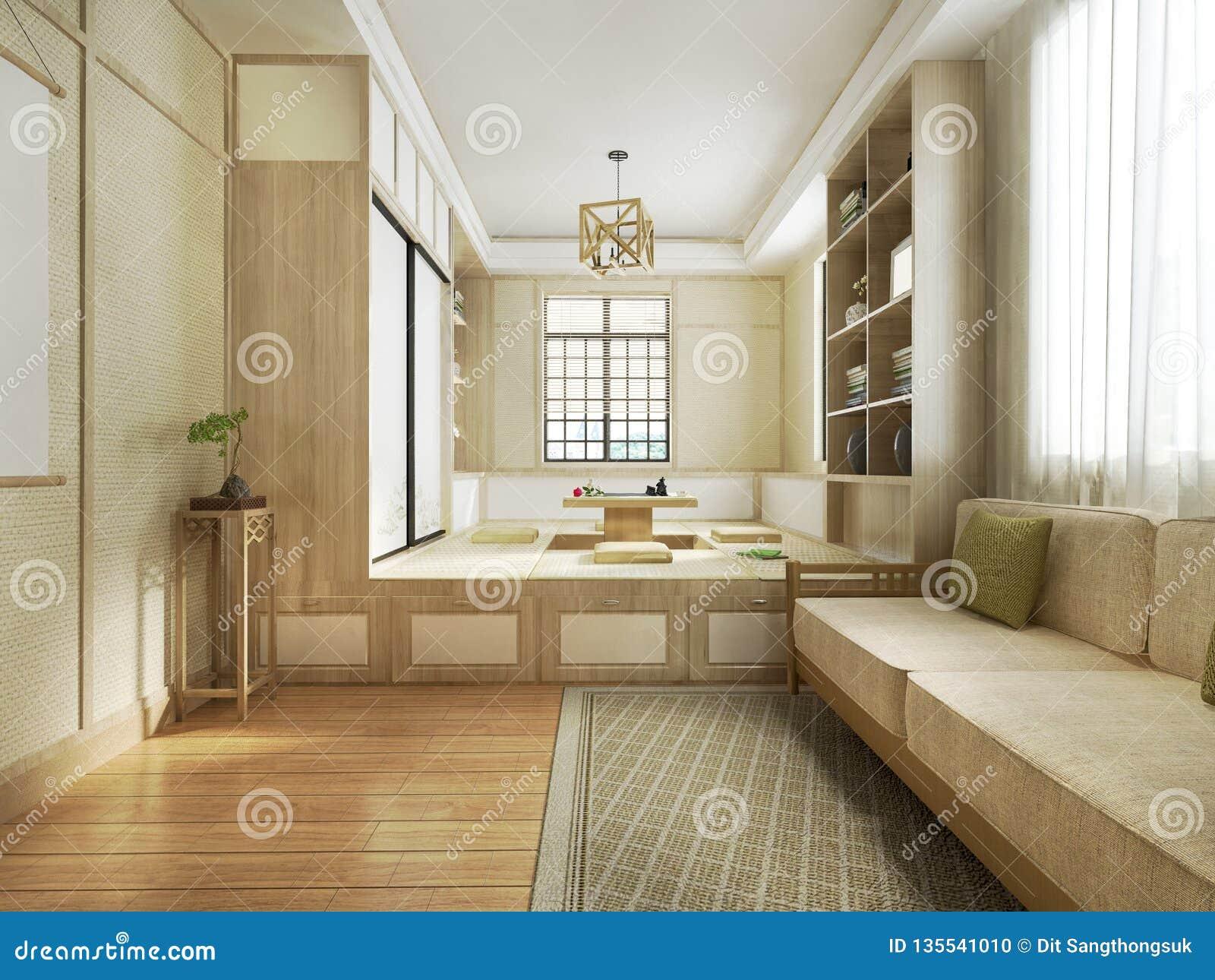 Salon De Jardin Asiatique salon de style japonais du rendu 3d illustration stock