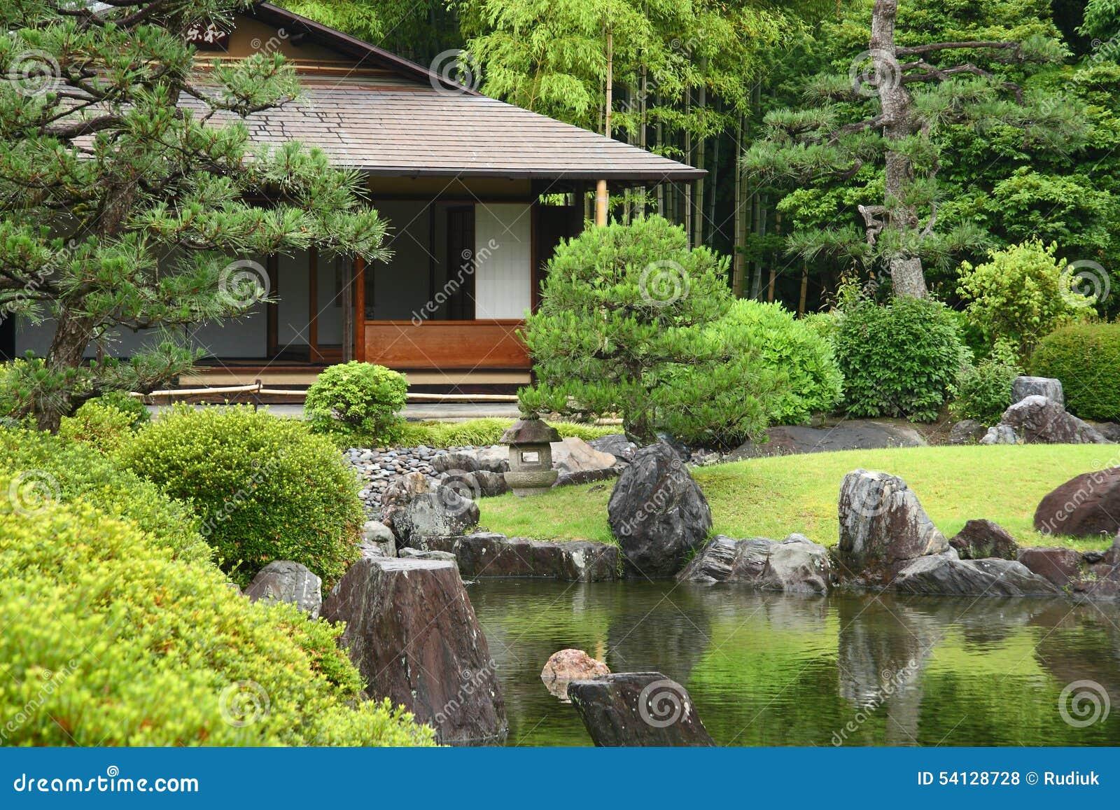 Salon de thé au Japon photo stock. Image du jardin, étang - 54128728
