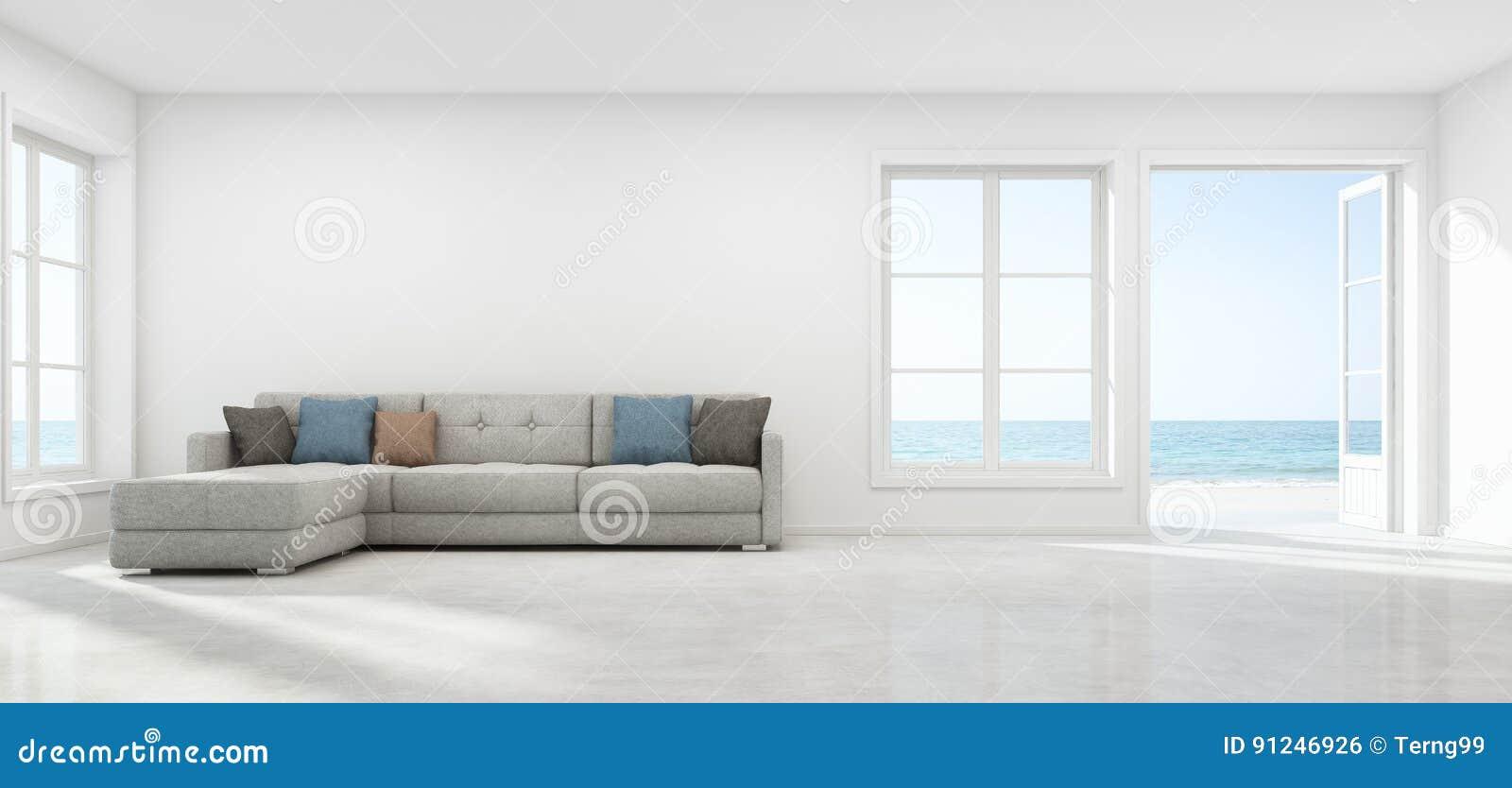Salon de vue de mer avec le mur vide dans la maison de for Le vide interieur
