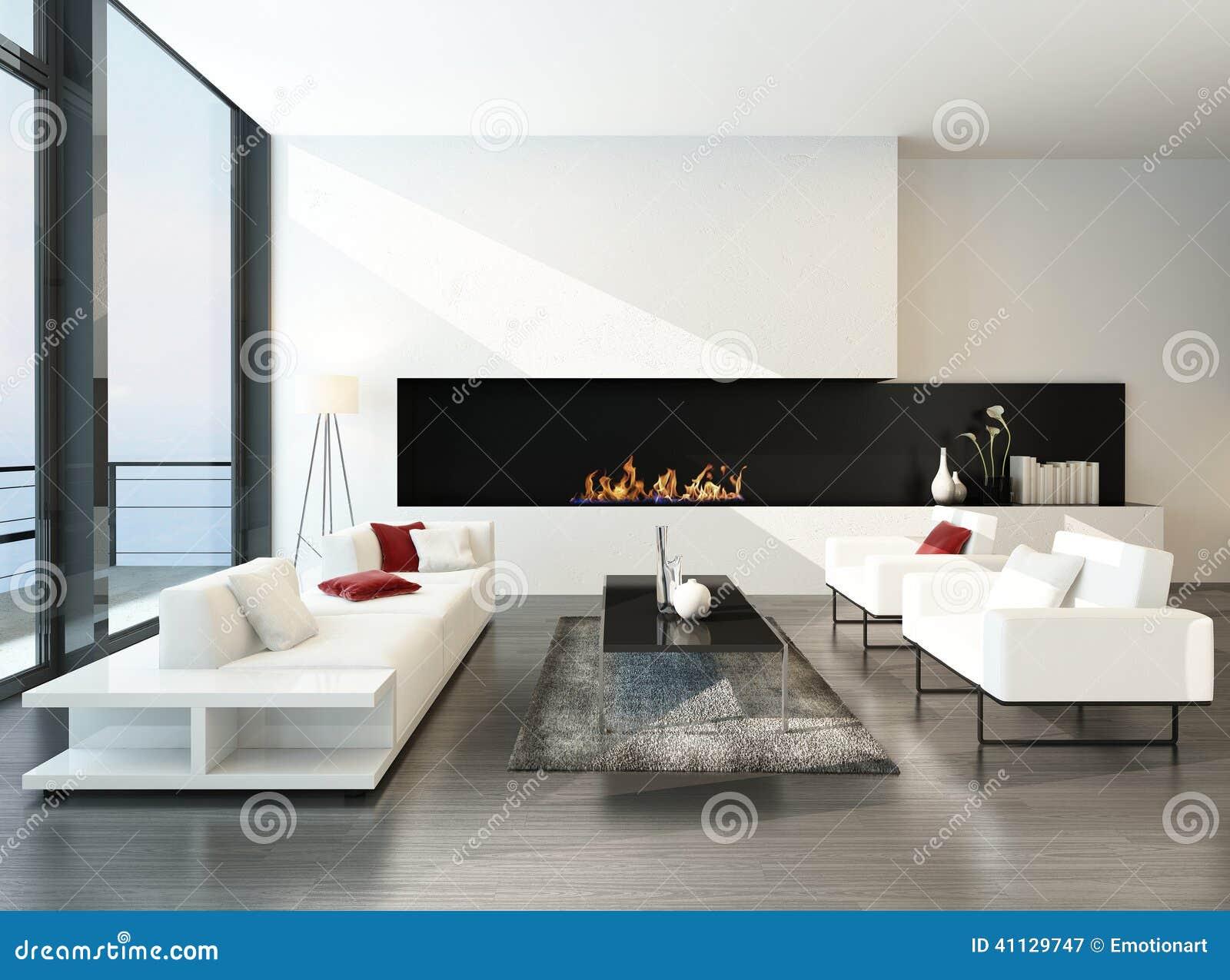Salon Desing Moderne Luxueux Avec La Cheminée Illustration Stock ...