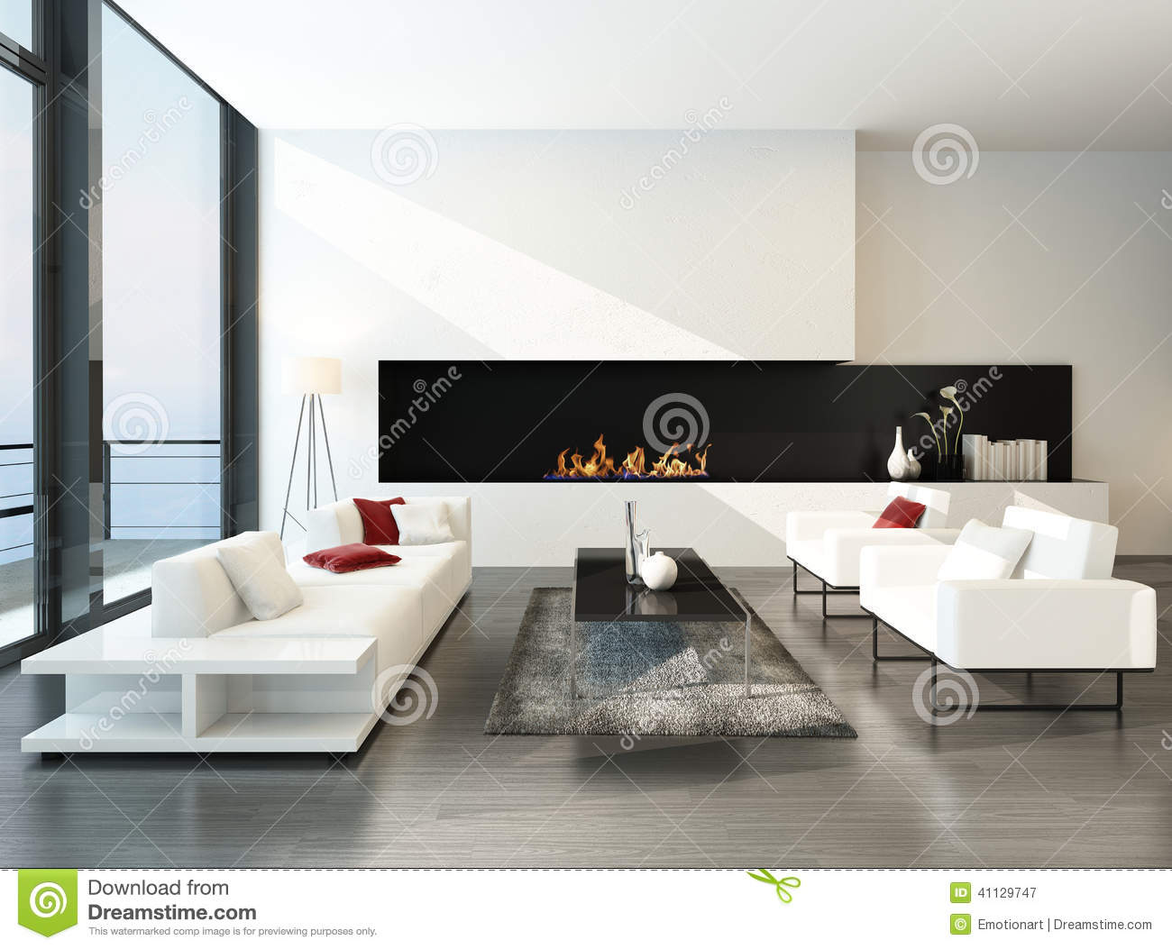 Salon desing moderne luxueux avec la chemin e illustration for Salon simple et beau