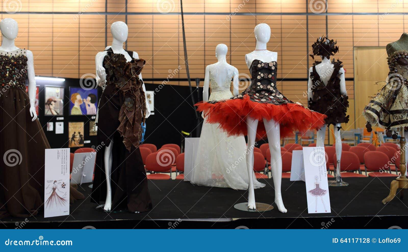 Salon du chocolat 2015 chocolate dress editorial stock for Salon du x lyon