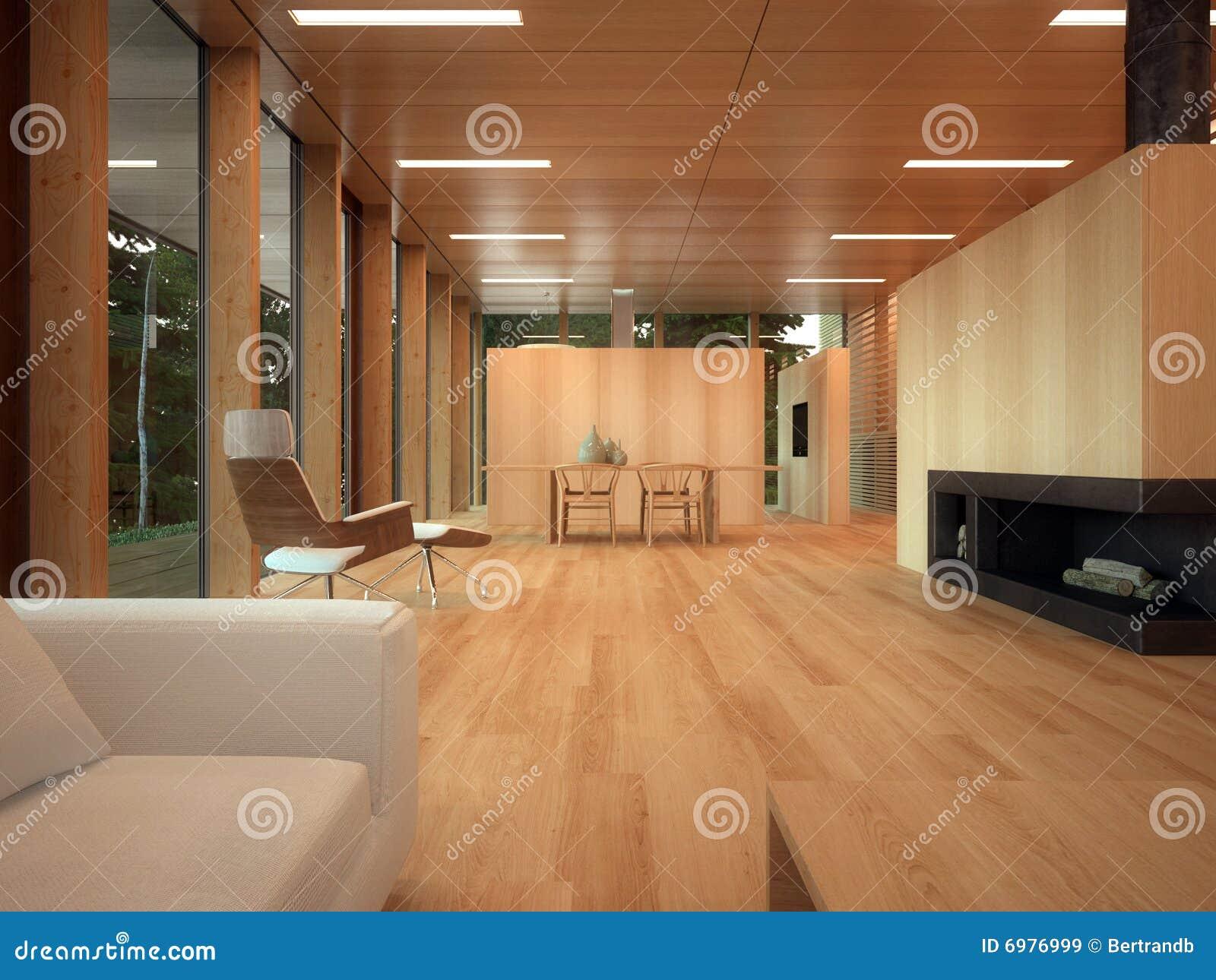 salon en bois minimaliste images libres de droits image 6976999. Black Bedroom Furniture Sets. Home Design Ideas