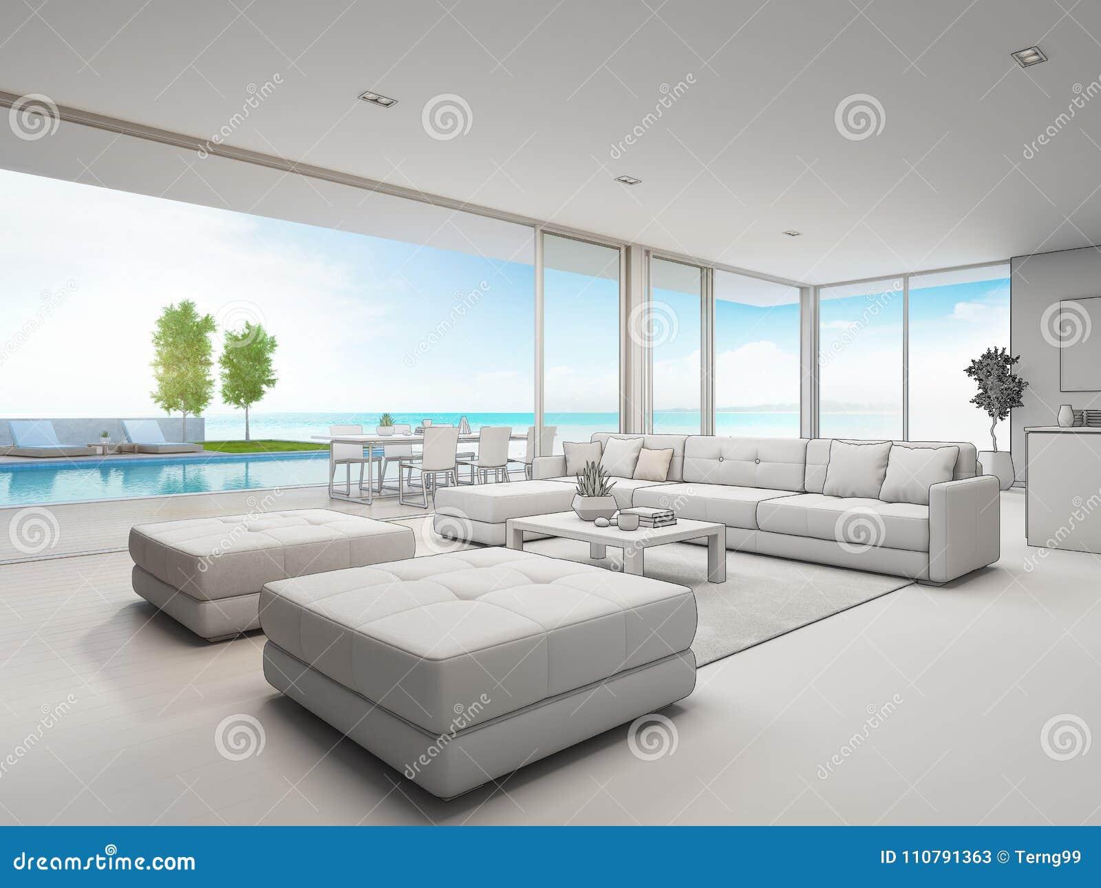Salon ext rieur de vue de diner et de mer de maison de for Conceptions et prix de la maison