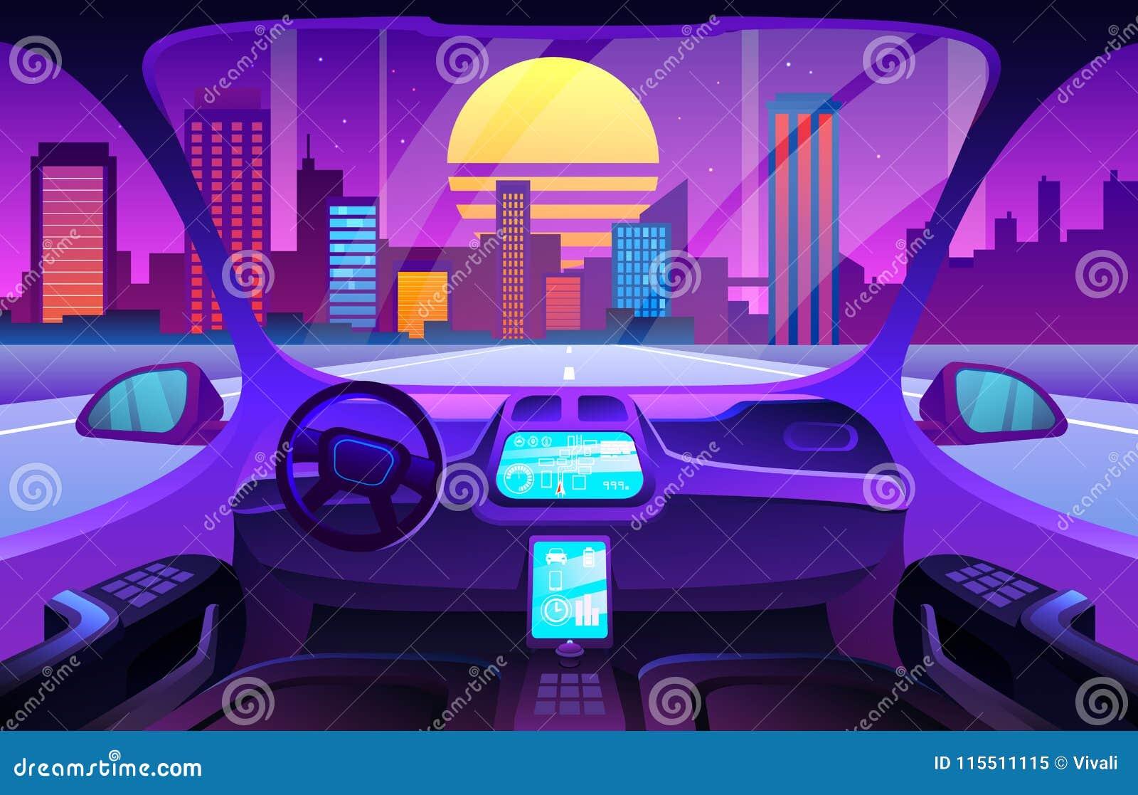 Salon futuriste d automobile ou intérieur driverless de voiture Intérieur futé de voiture d Autinomous