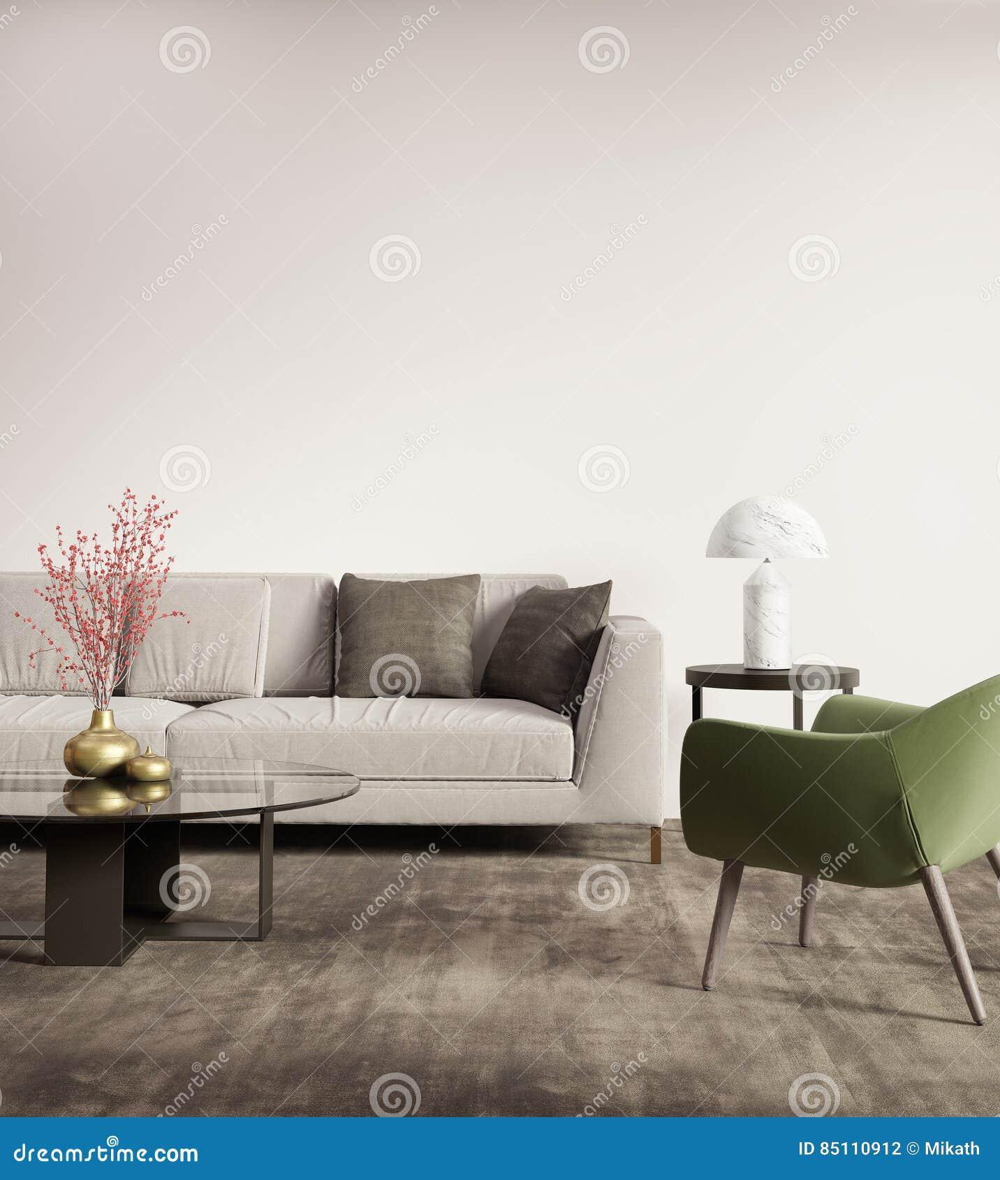 Salon Gris Contemporain Avec Le Fauteuil Vert Photo stock - Image du ...